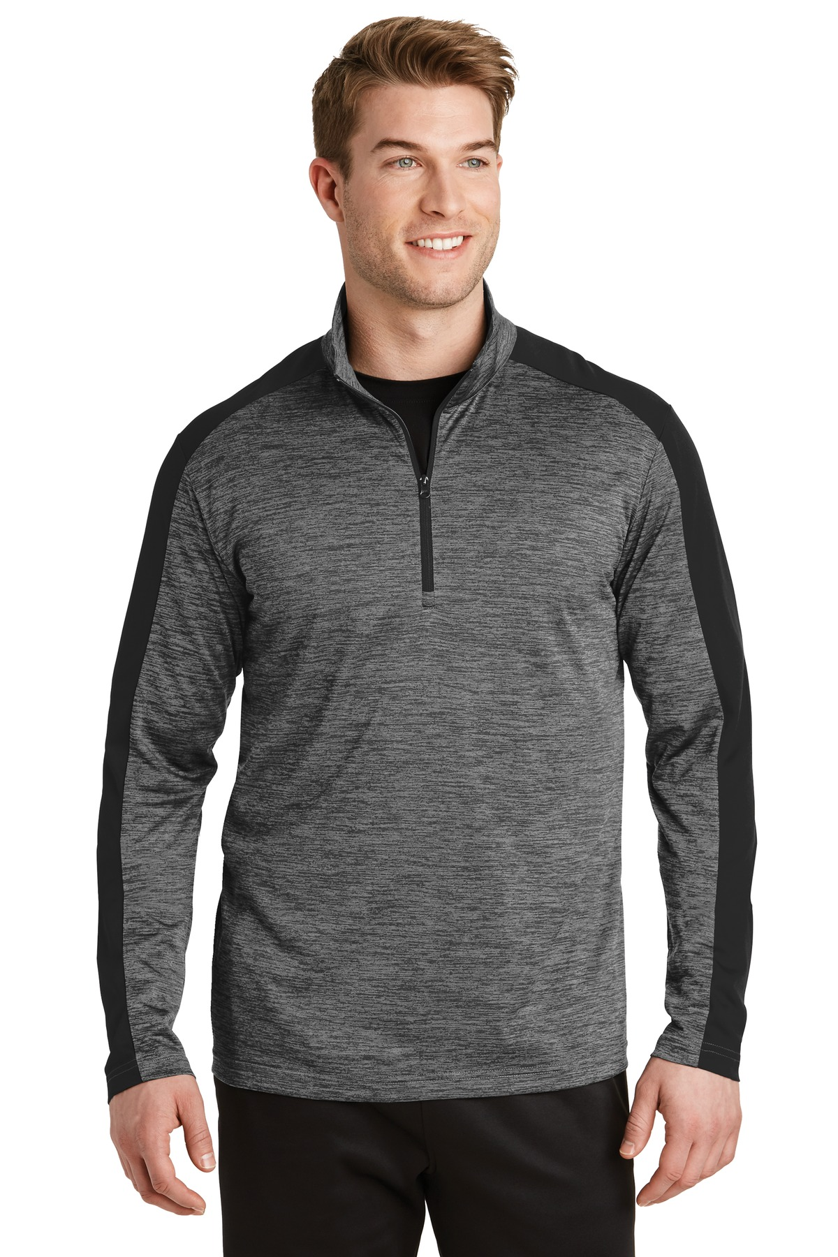 Sport-Tek ®  PosiCharge ®  Electric Heather Colorblock 1/4-Zip Pullover. ST397 - Grey-Black Electric/ Black