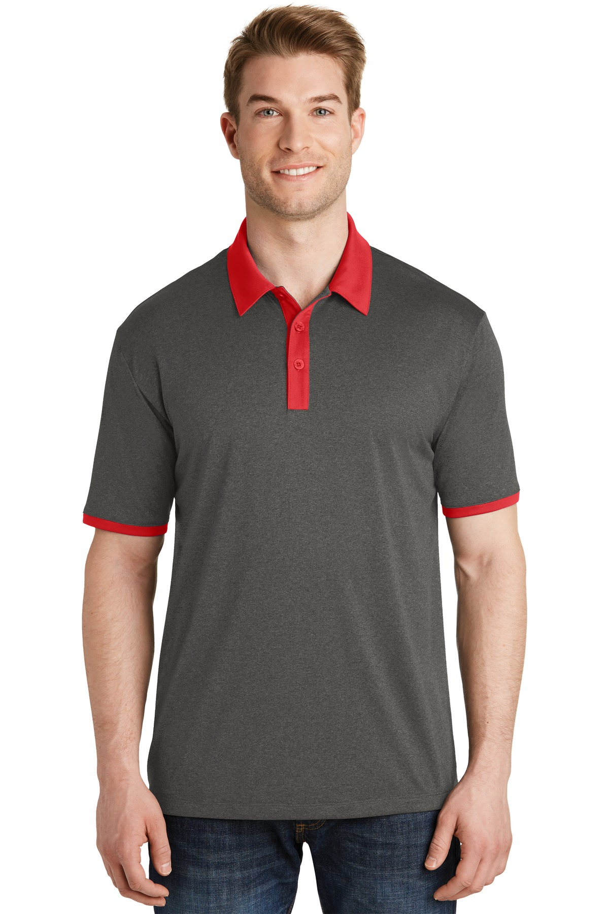 Sport-Tek ®  Heather Contender ™  Contrast Polo. ST667 - Graphite Heather/ True Red