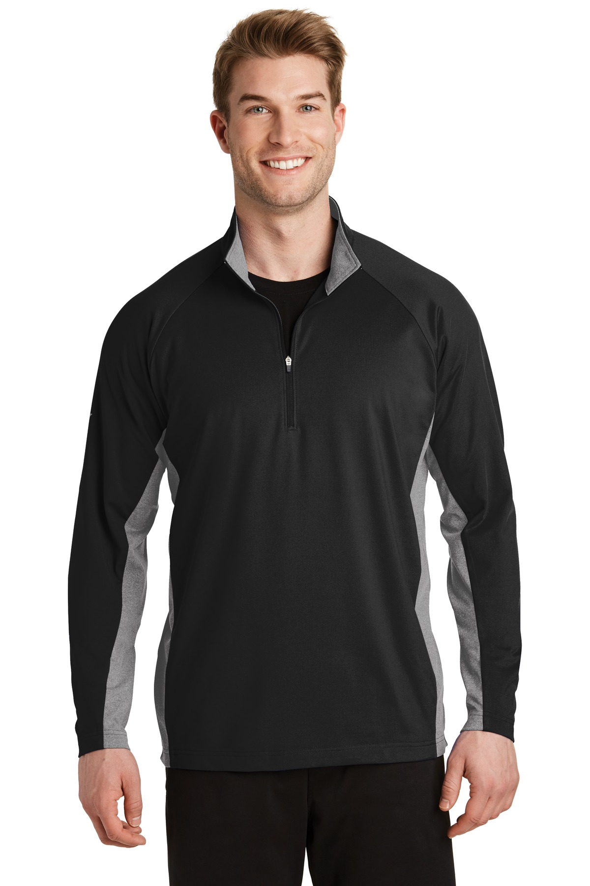 Sport-Tek ®  Sport-Wick ®  Stretch Contrast 1/2-Zip Pullover. ST854 - Black/ Charcoal Grey Heather