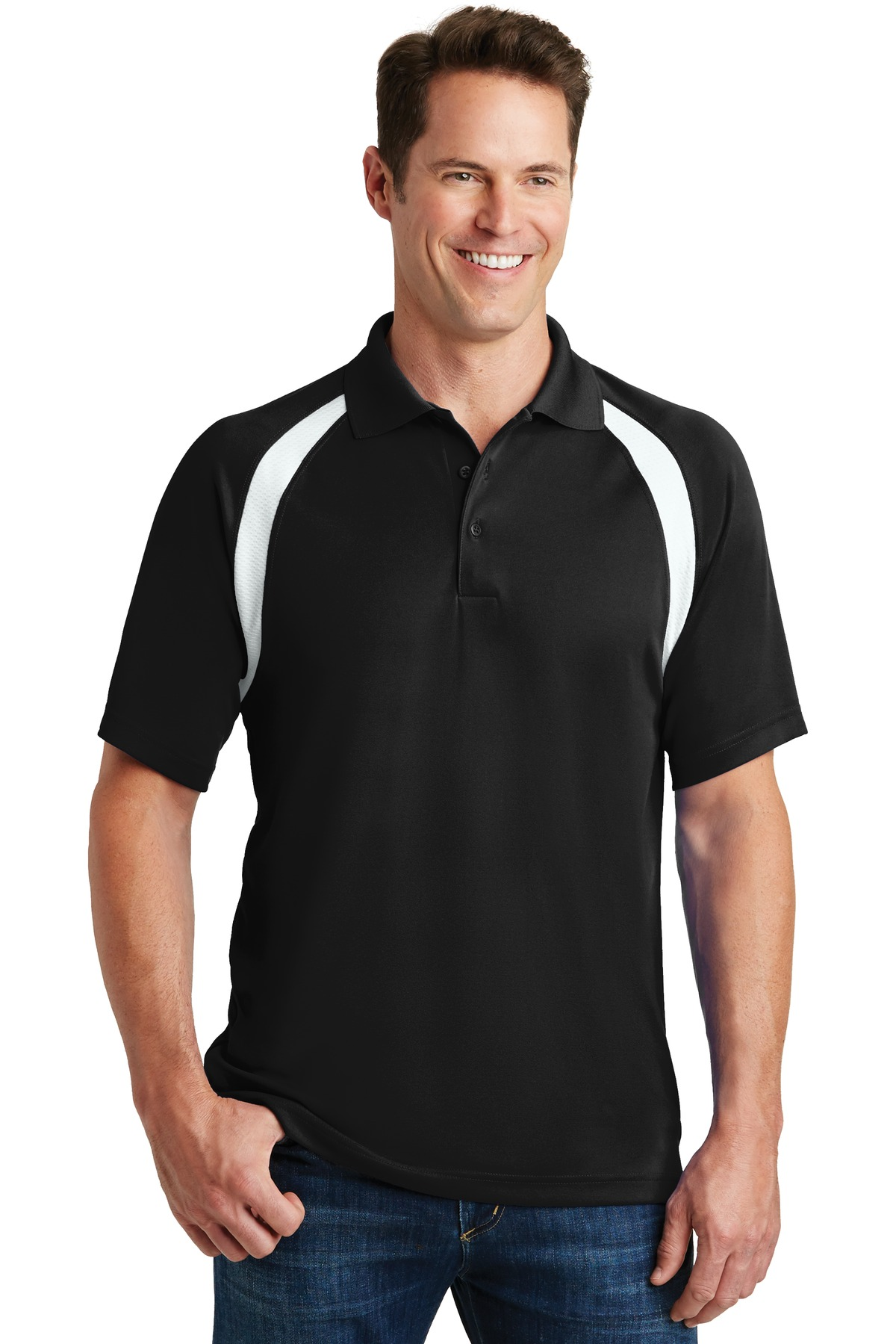 Sport-Tek ®  Dry Zone ®  Colorblock Raglan Polo. T476 - Black/White
