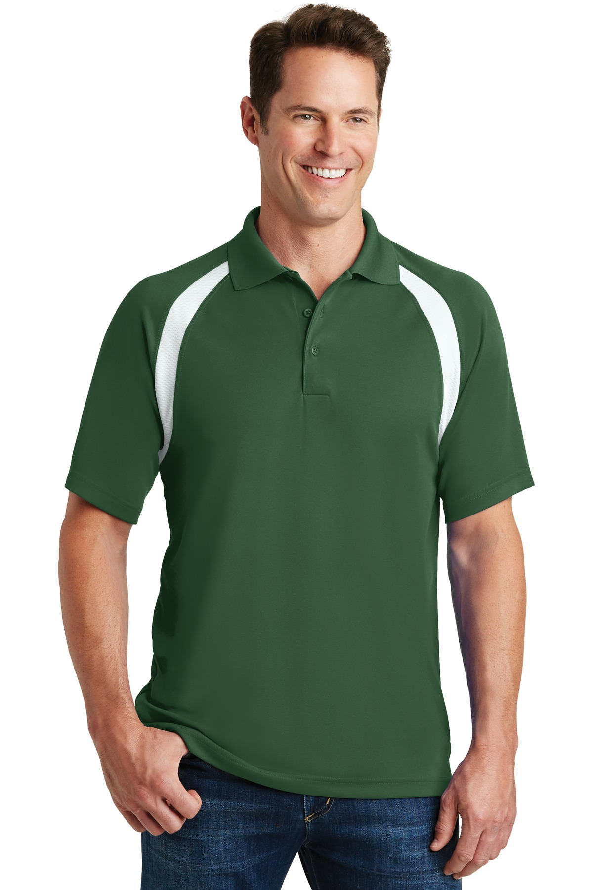 Sport-Tek ®  Dry Zone ®  Colorblock Raglan Polo. T476 - Forest Green/White