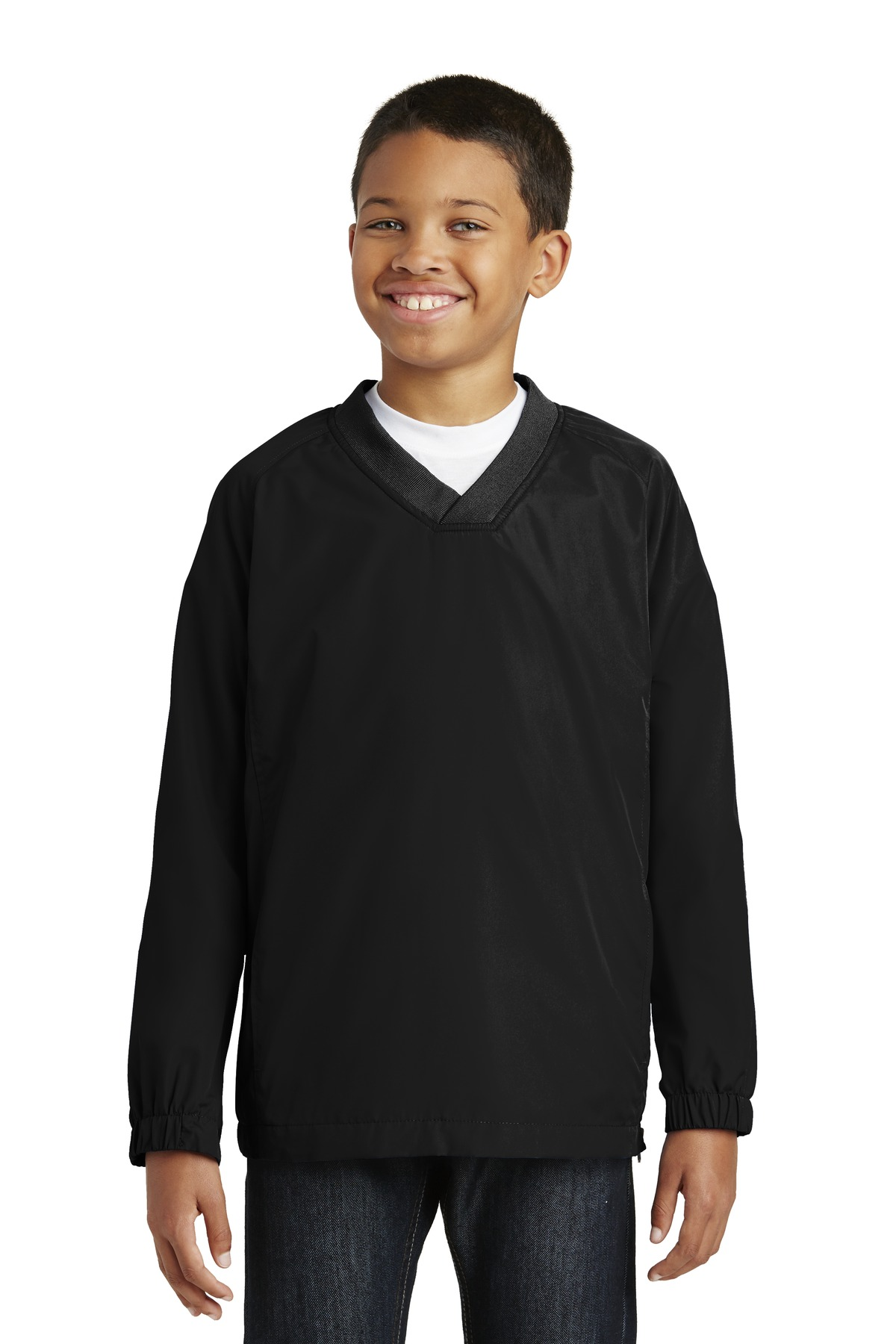 Sport-Tek ®  Youth V-Neck Raglan Wind Shirt. YST72 - Black