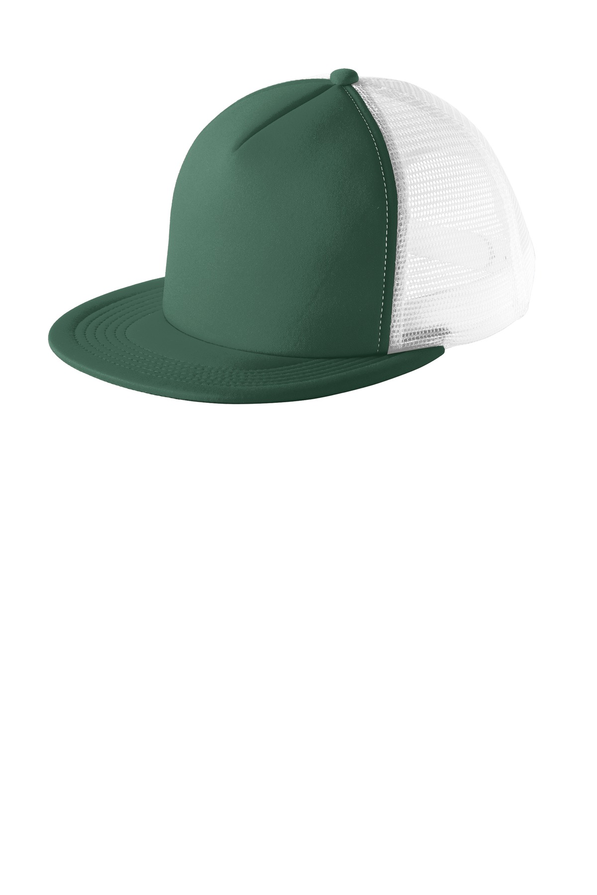 District ®  Flat Bill Snapback Trucker Cap. DT624 - Forest Green