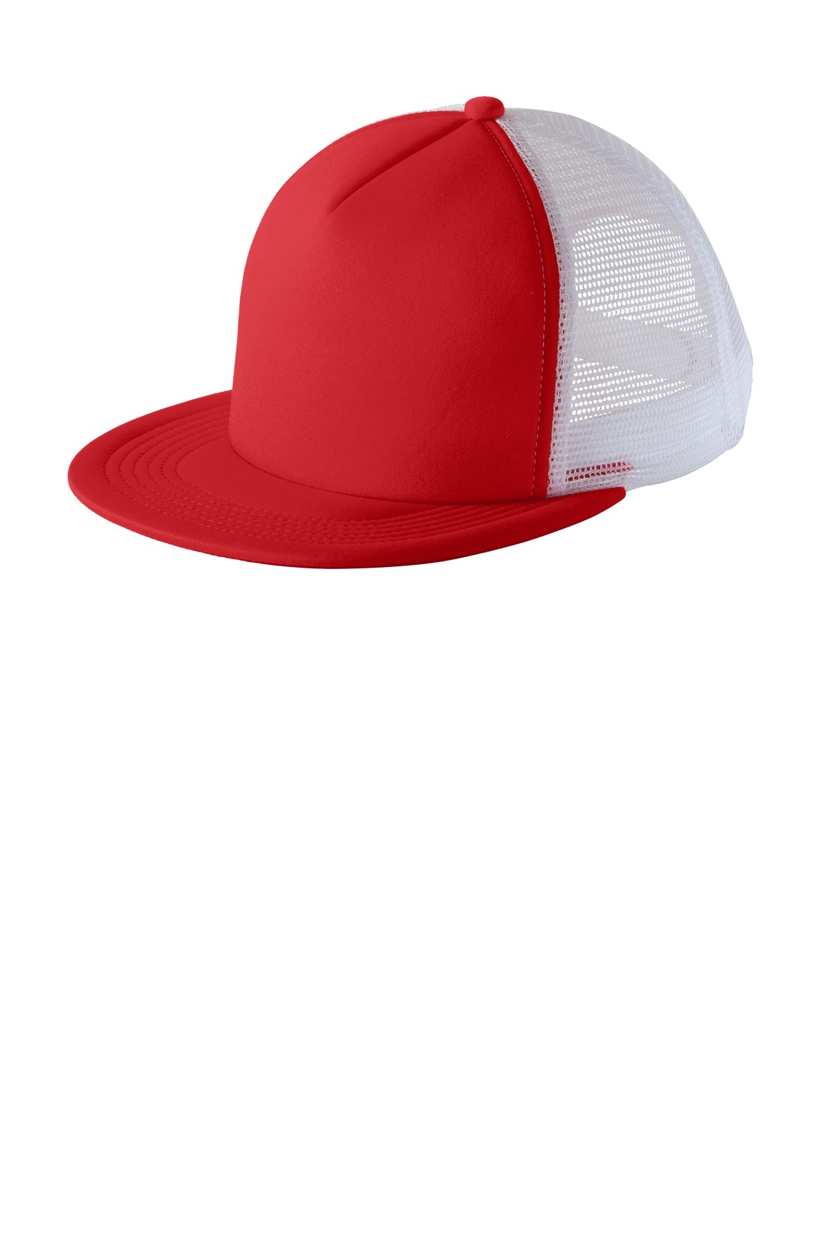 District ®  Flat Bill Snapback Trucker Cap. DT624 - New Red