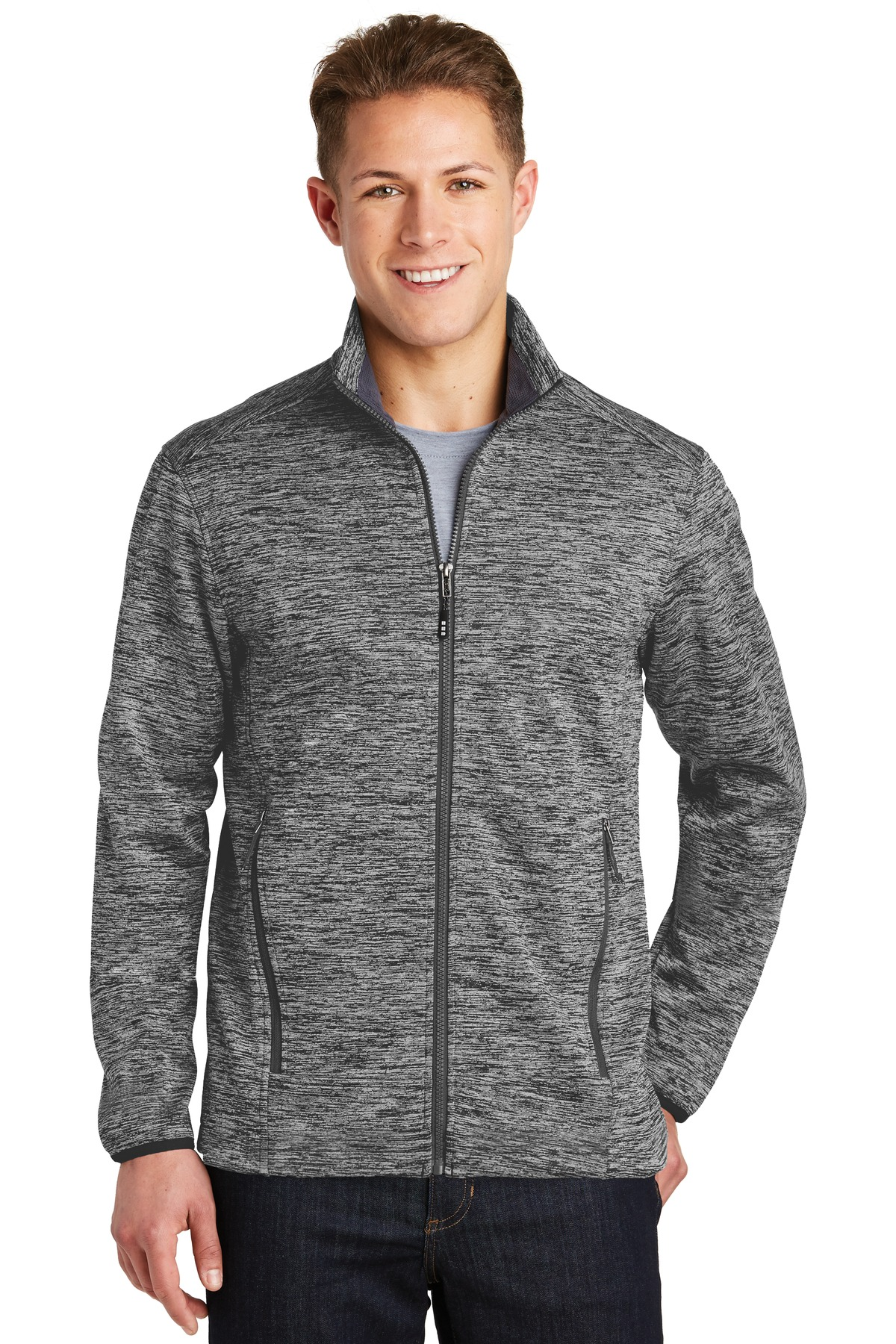 Sport-Tek ®  PosiCharge ®  Electric Heather Soft Shell Jacket. JST30 - Black Electric