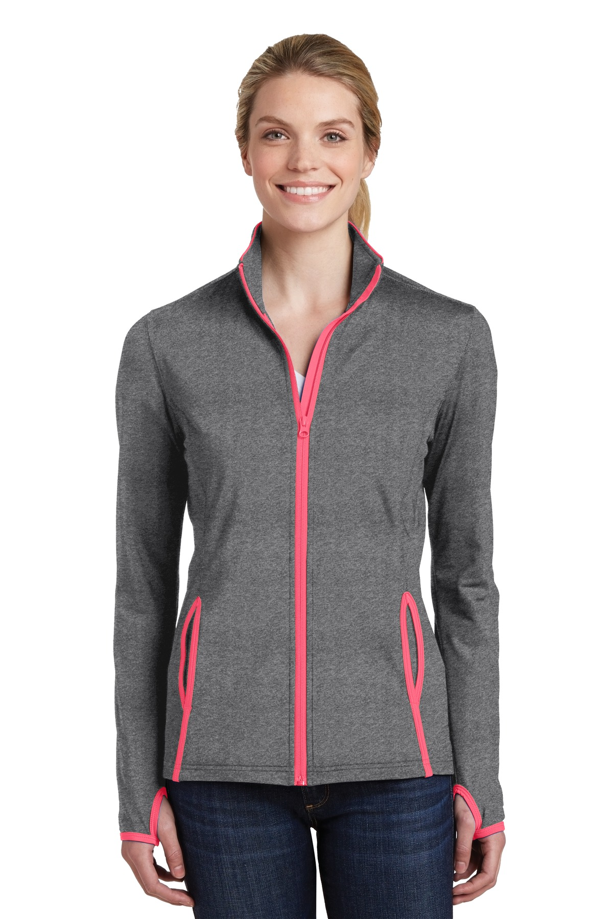 Sport-Tek ®  Ladies Sport-Wick ®  Stretch Contrast Full-Zip Jacket.  LST853 - Charcoal Grey Heather/ Hot Coral