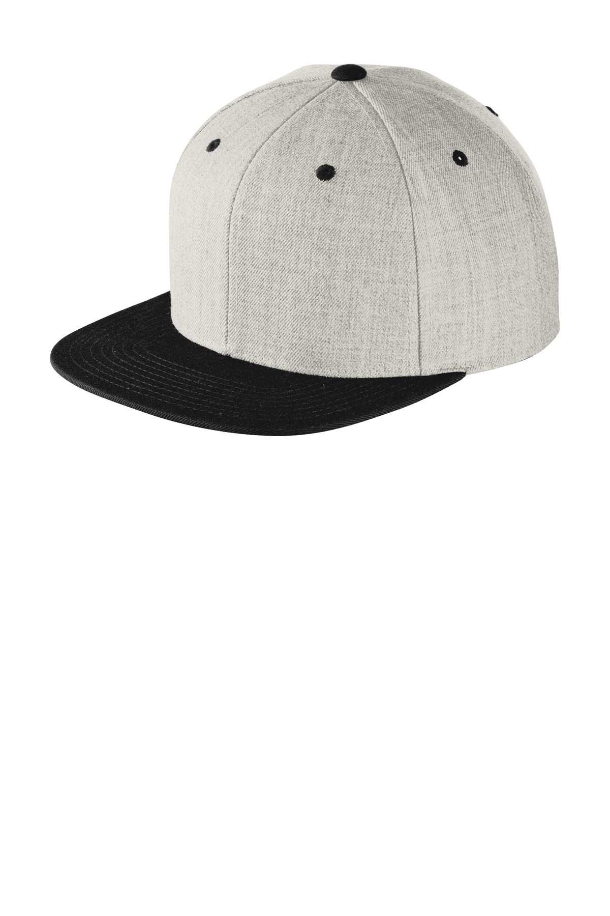 Sport-Tek ®  Yupoong ®  Flat Bill Snapback Cap. STC19 - Heather/ Black
