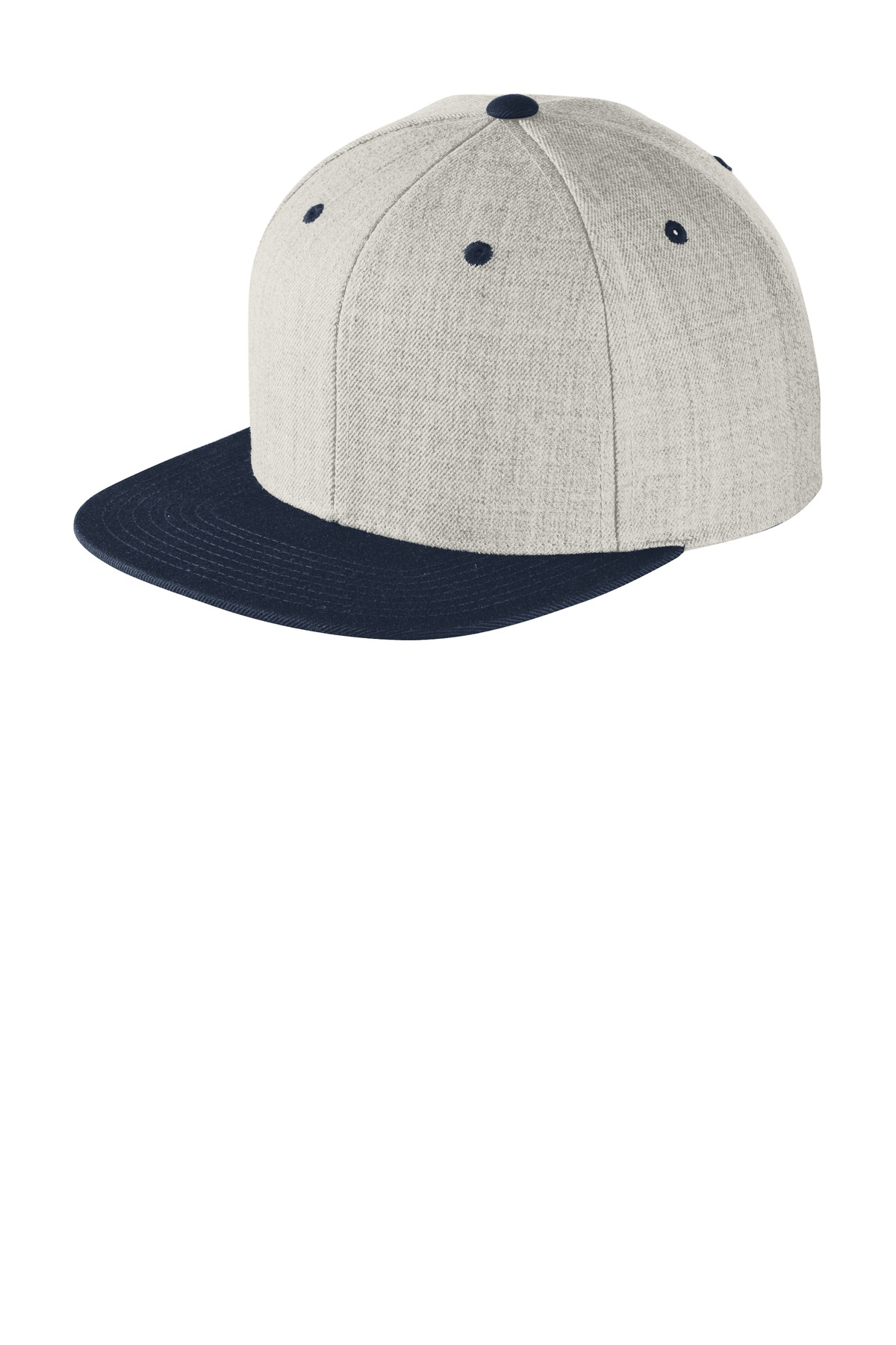 Sport-Tek ®  Yupoong ®  Flat Bill Snapback Cap. STC19 - Heather/ True Navy