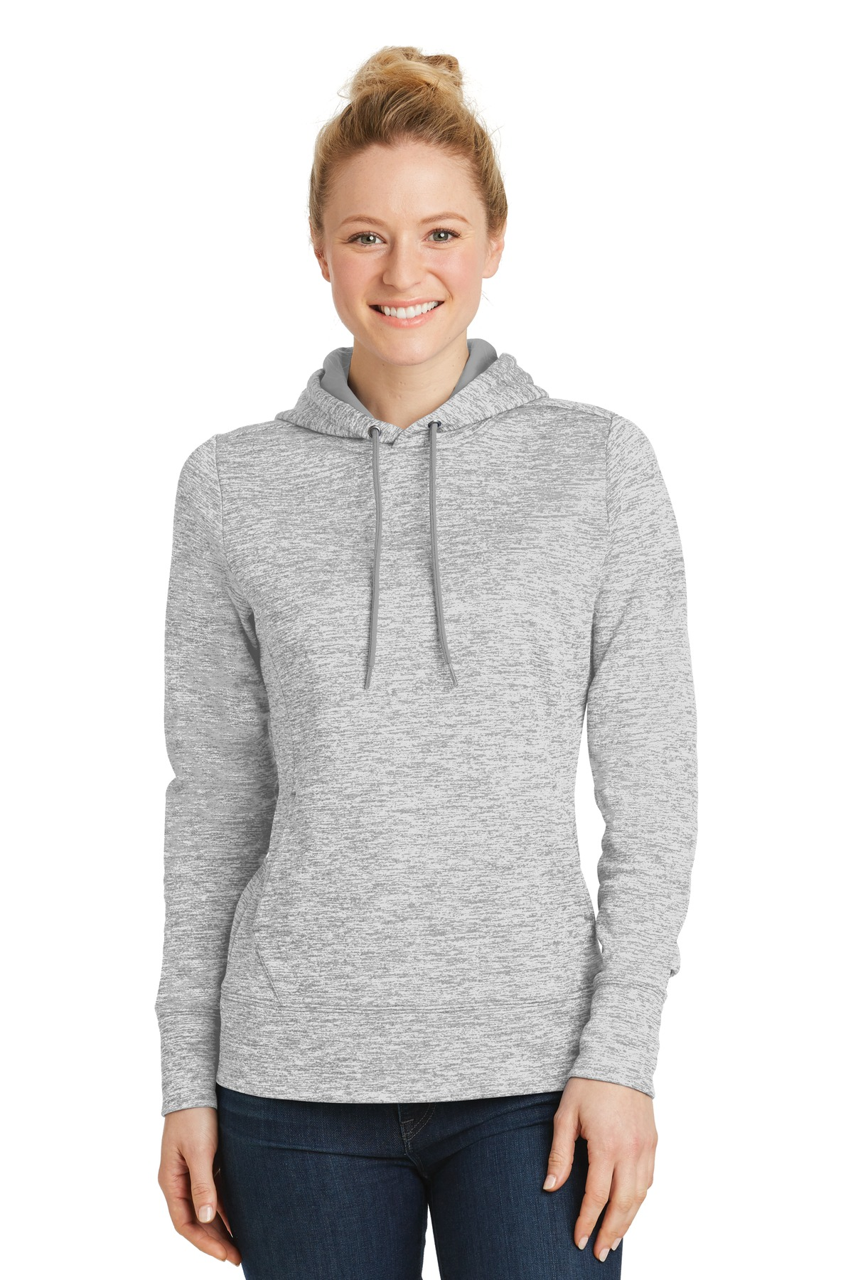 Sport-Tek ®  Ladies PosiCharge ®  Electric Heather Fleece Hooded Pullover. LST225 - Silver Electric