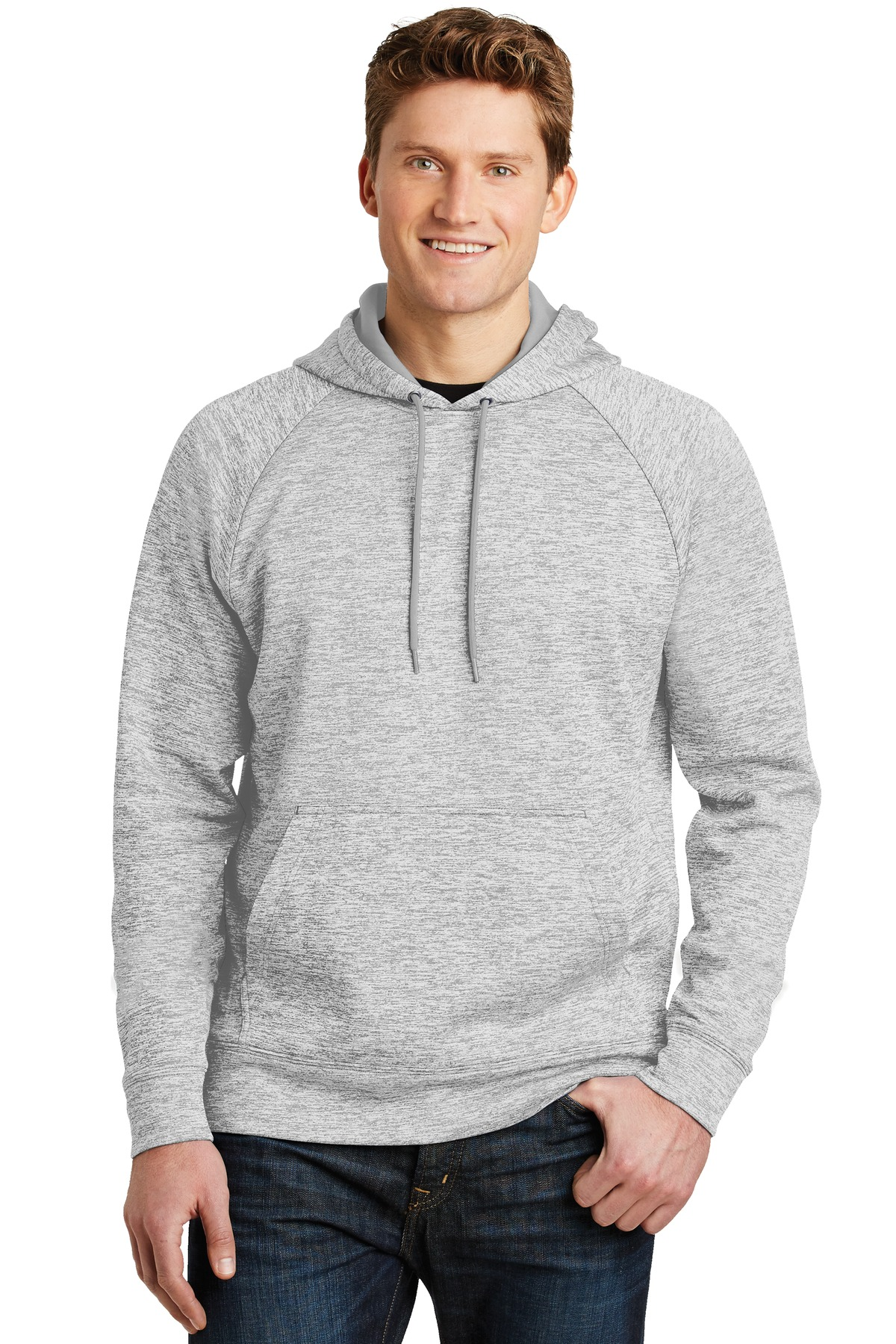 Sport-Tek ®  PosiCharge ®  Electric Heather Fleece Hooded Pullover. ST225 - Silver Electric