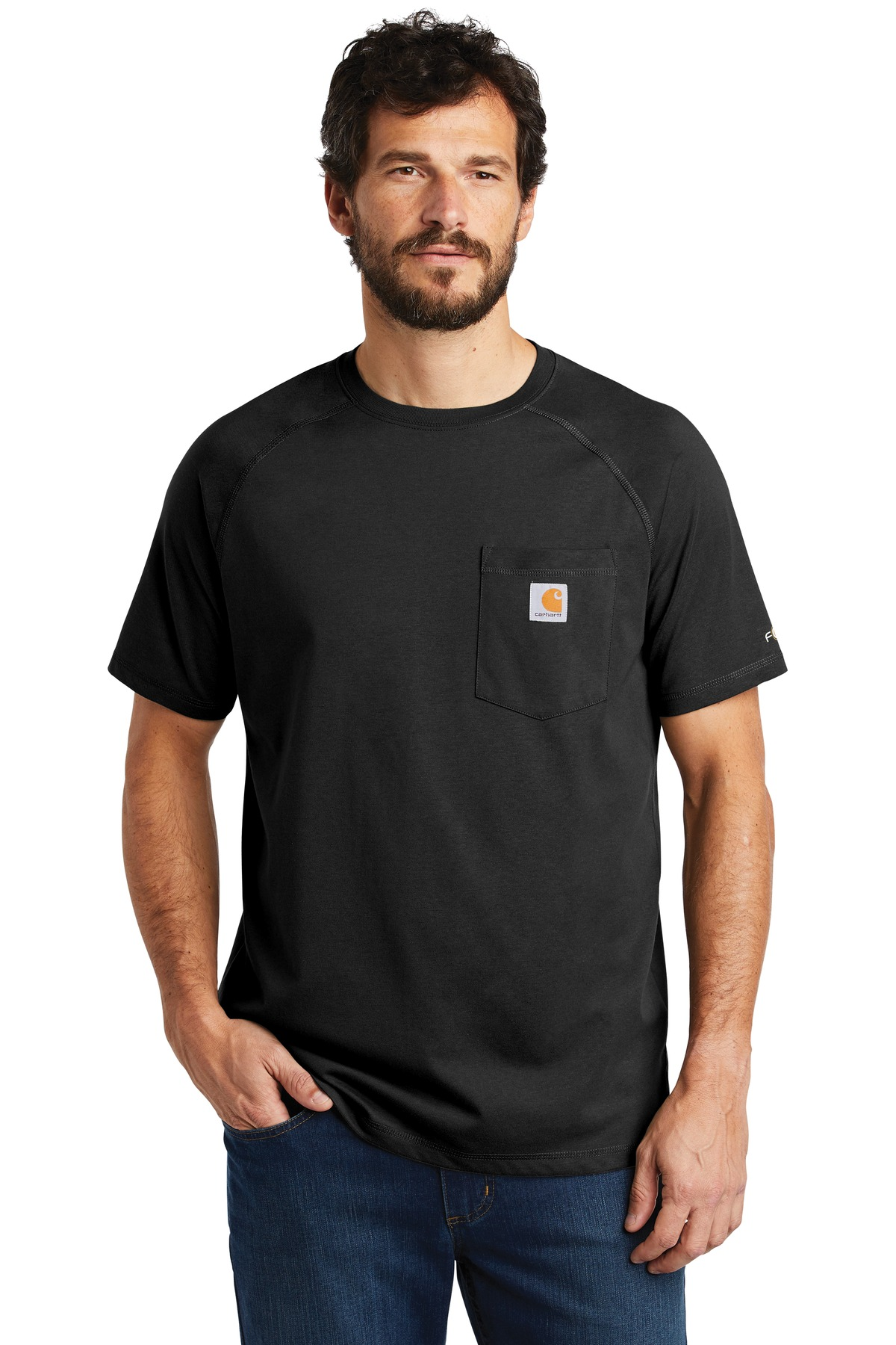 Carhartt Force  ®  Cotton Delmont Short Sleeve T-Shirt. CT100410 - Black