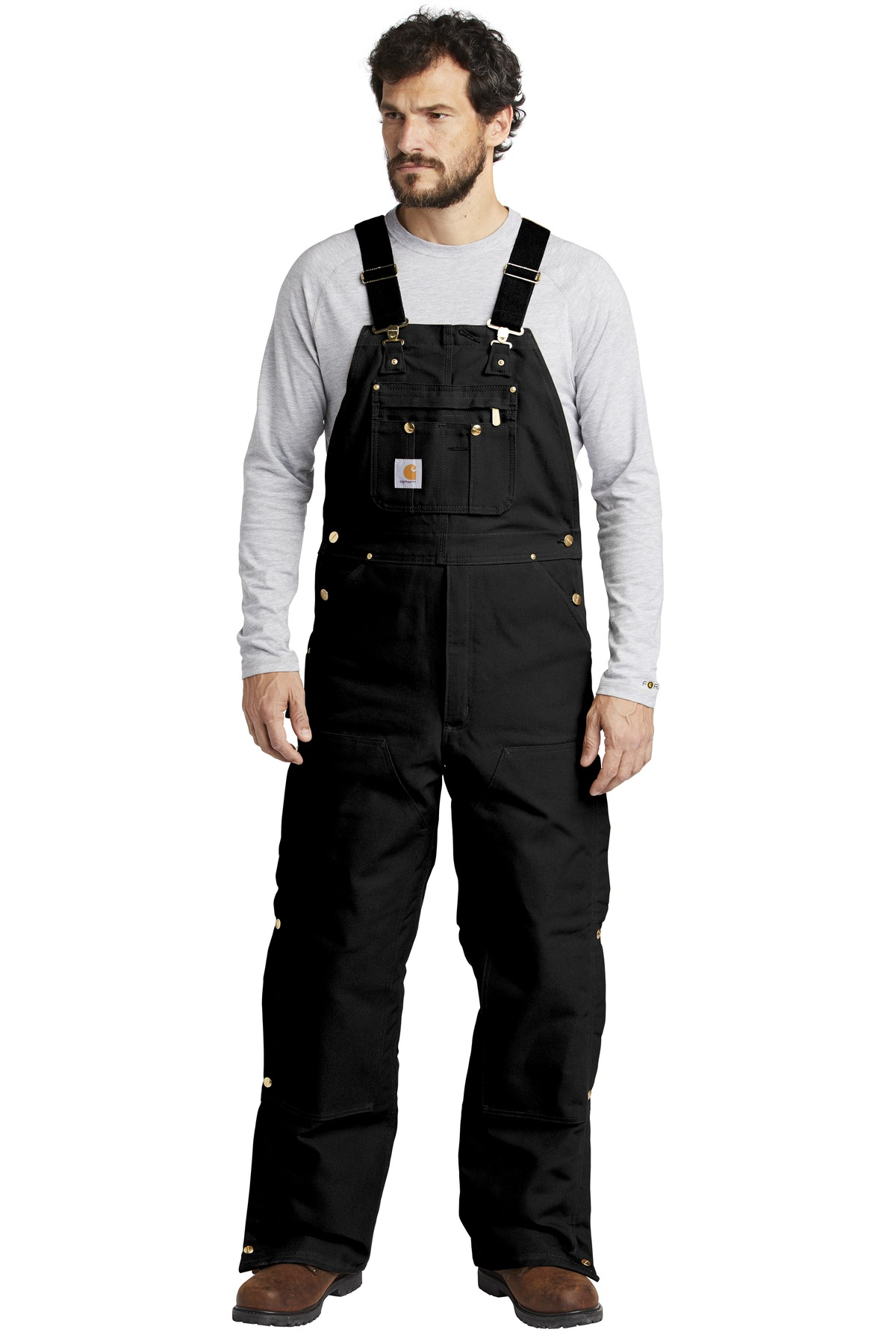 Carhartt  ®  Duck Quilt-Lined Zip-To-Thigh Bib Overalls. CTR41 - Black