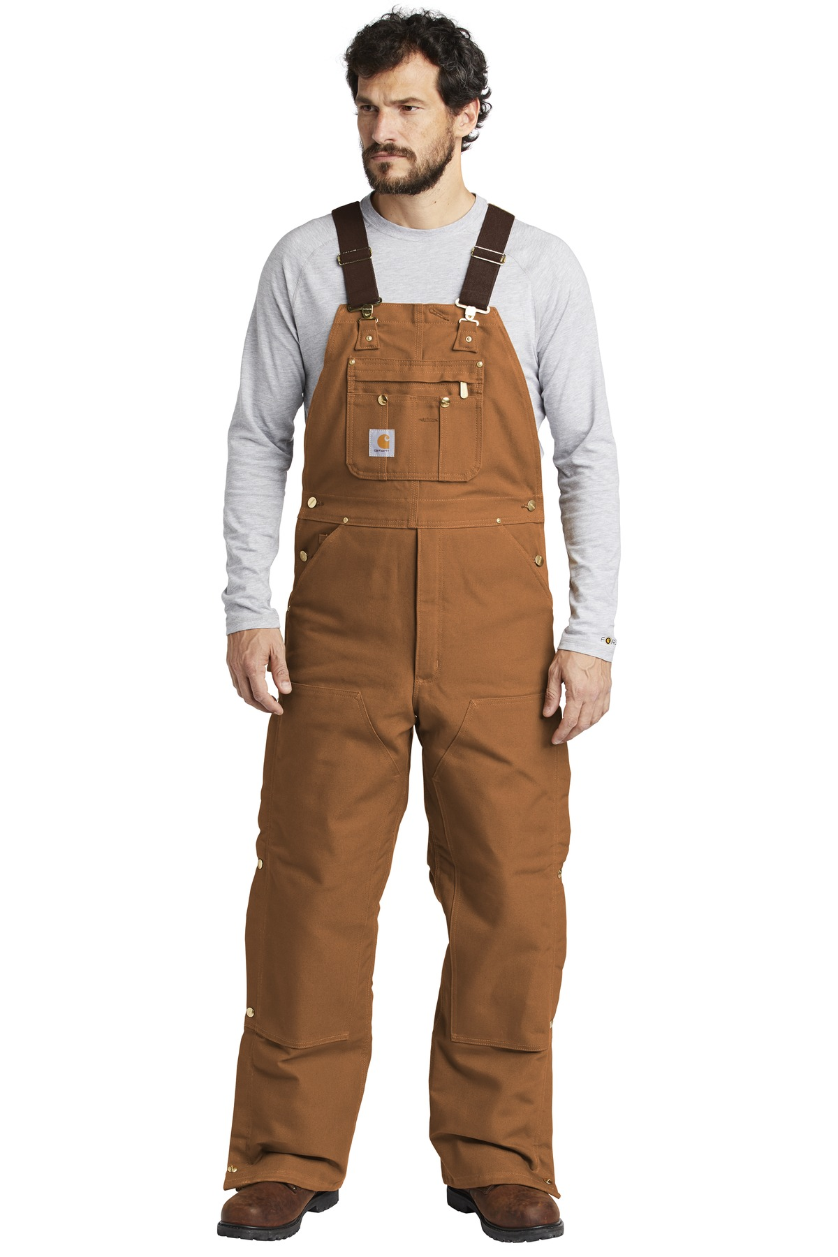 Carhartt  ®  Duck Quilt-Lined Zip-To-Thigh Bib Overalls. CTR41 - Carhartt Brown