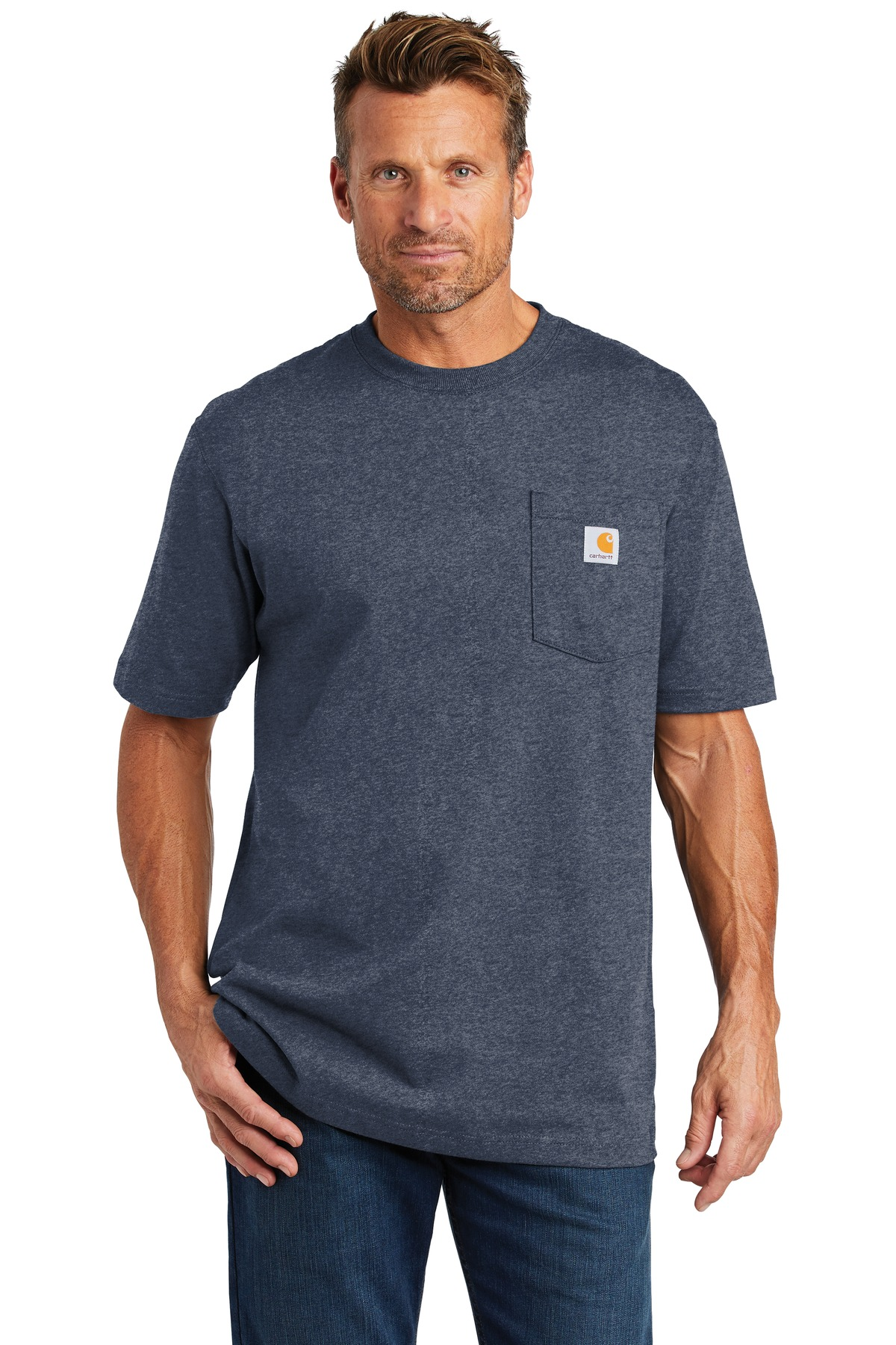 Carhartt  ®  Tall Workwear Pocket Short Sleeve T-Shirt. CTTK87 - Dark Cobalt Blue Heather