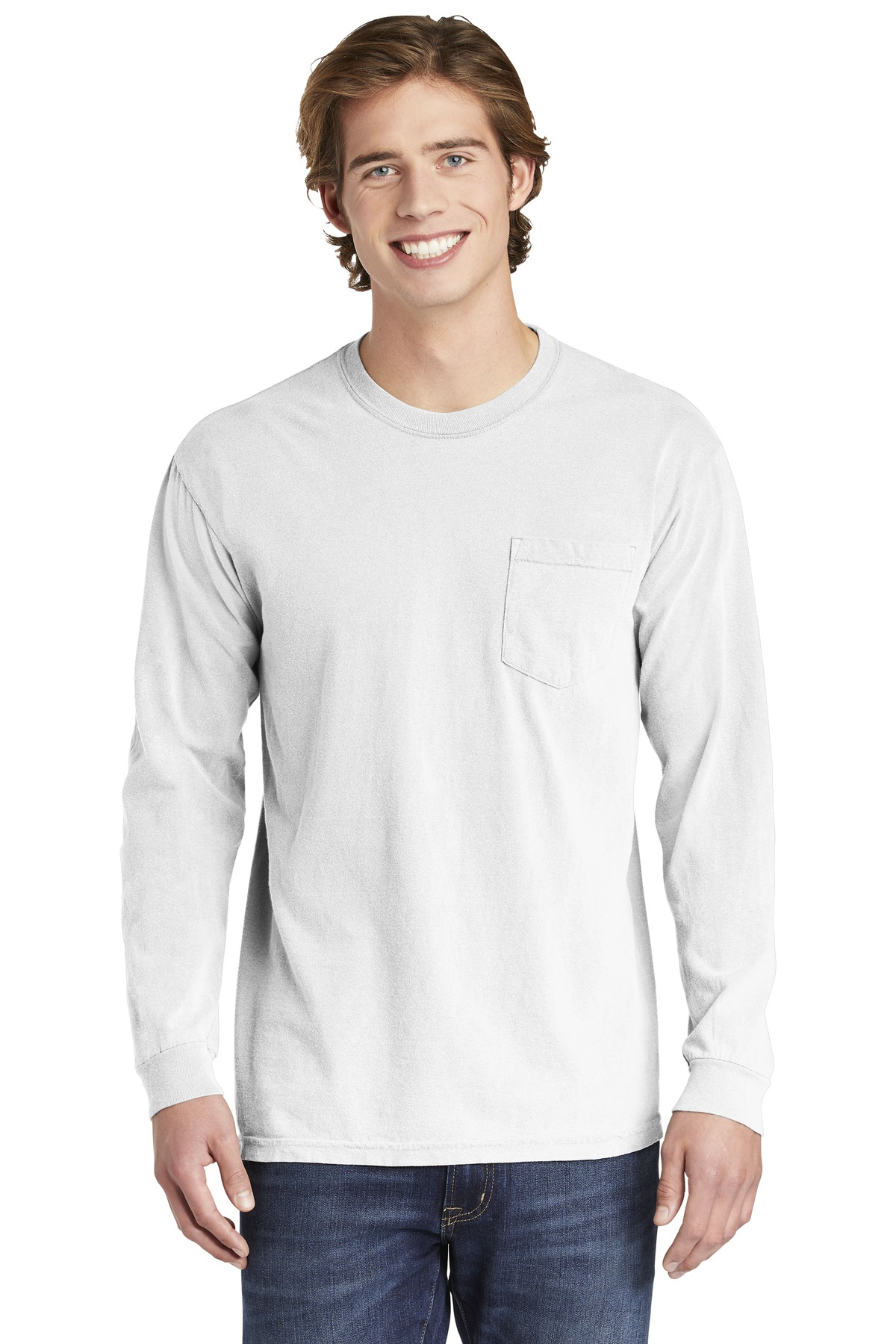 COMFORT COLORS  ®  Heavyweight Ring Spun Long Sleeve Pocket Tee. 4410 - White