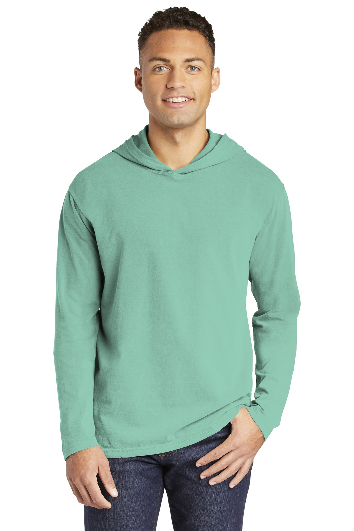 COMFORT COLORS  ®  Heavyweight Ring Spun Long Sleeve Hooded Tee. 4900 - Chalky Mint