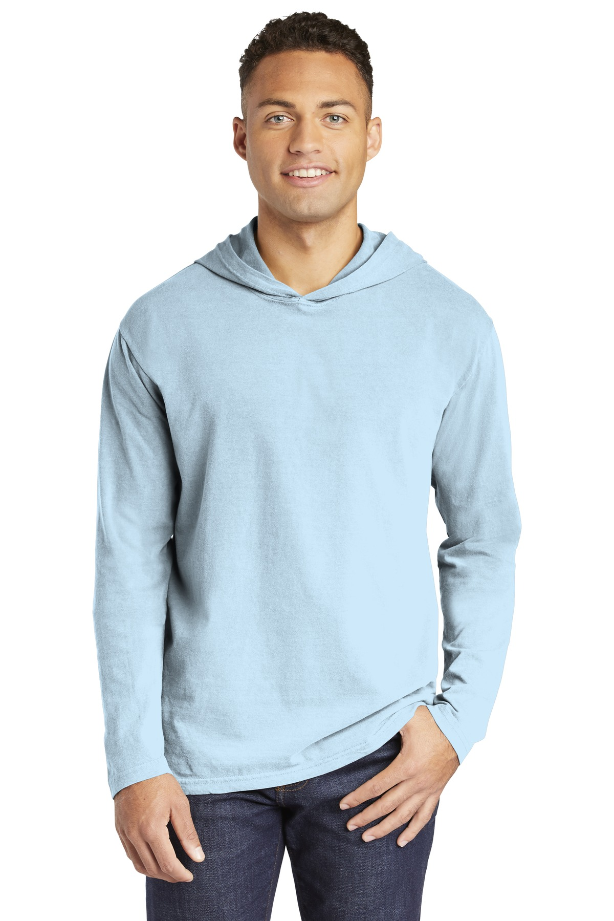 COMFORT COLORS  ®  Heavyweight Ring Spun Long Sleeve Hooded Tee. 4900 - Chambray