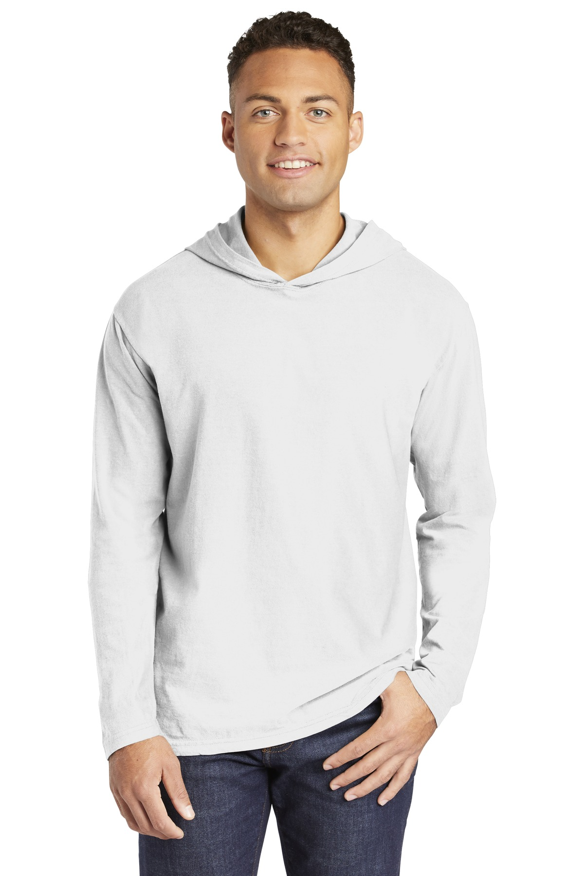 COMFORT COLORS  ®  Heavyweight Ring Spun Long Sleeve Hooded Tee. 4900 - White
