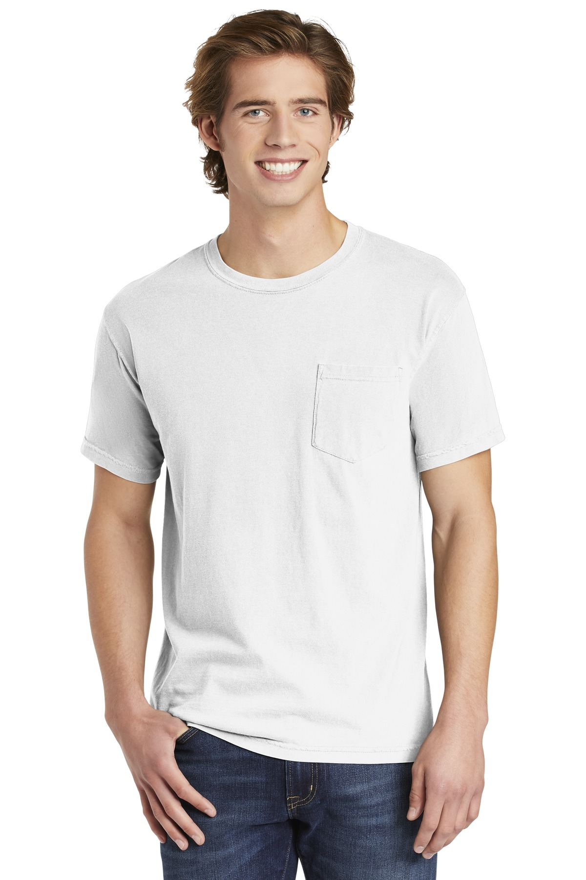 COMFORT COLORS  ®  Heavyweight Ring Spun Pocket Tee. 6030 - White