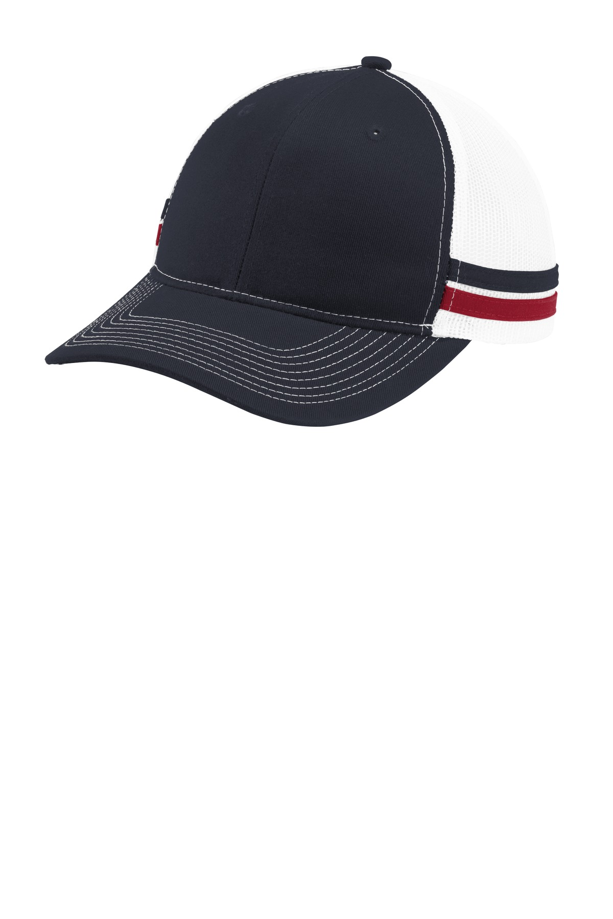 Port Authority  ®  Two-Stripe Snapback Trucker Cap. C113 - Rich Navy/ Flame Red/ White
