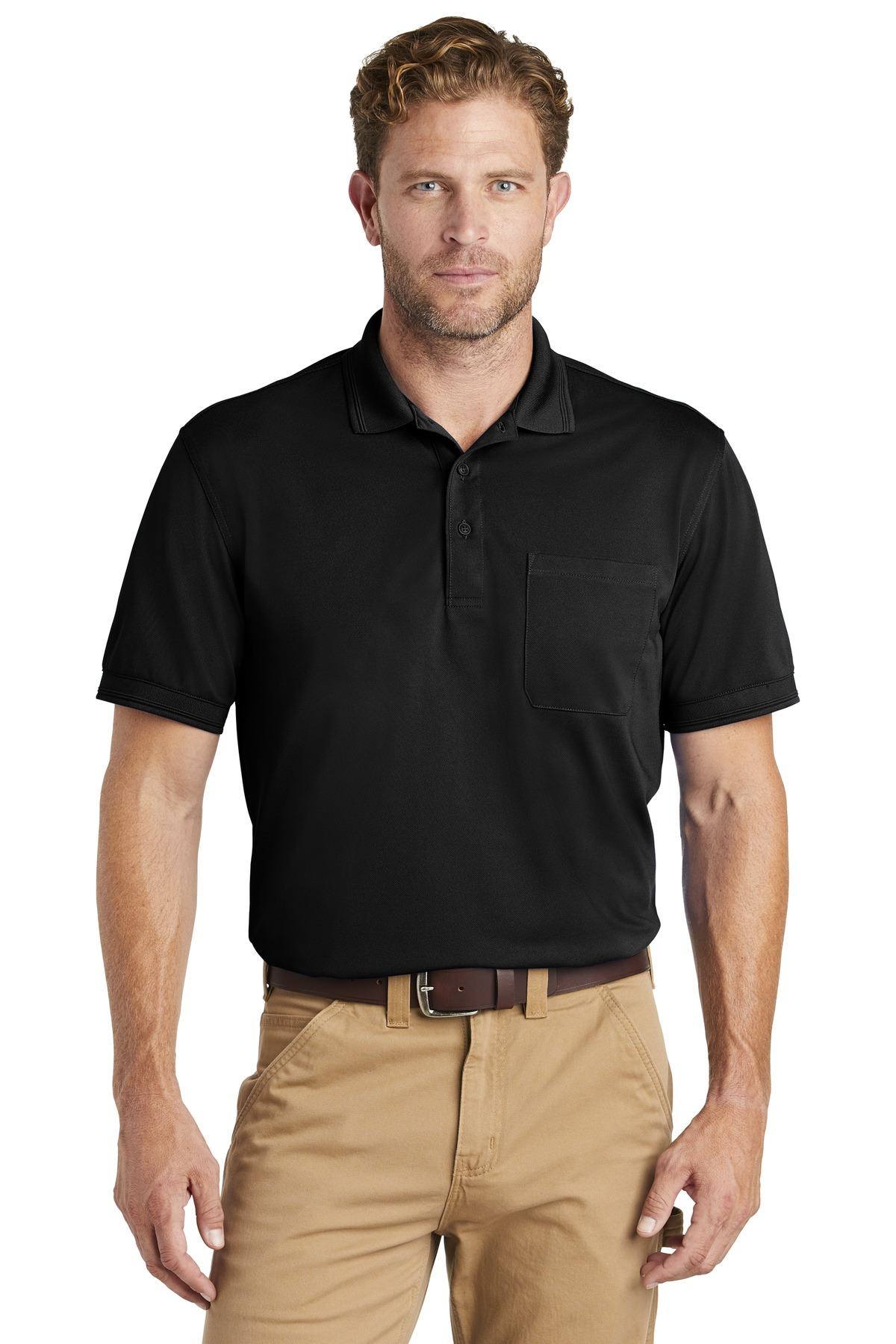 CornerStone  ®  Industrial Snag-Proof Pique Pocket Polo. CS4020P - Black