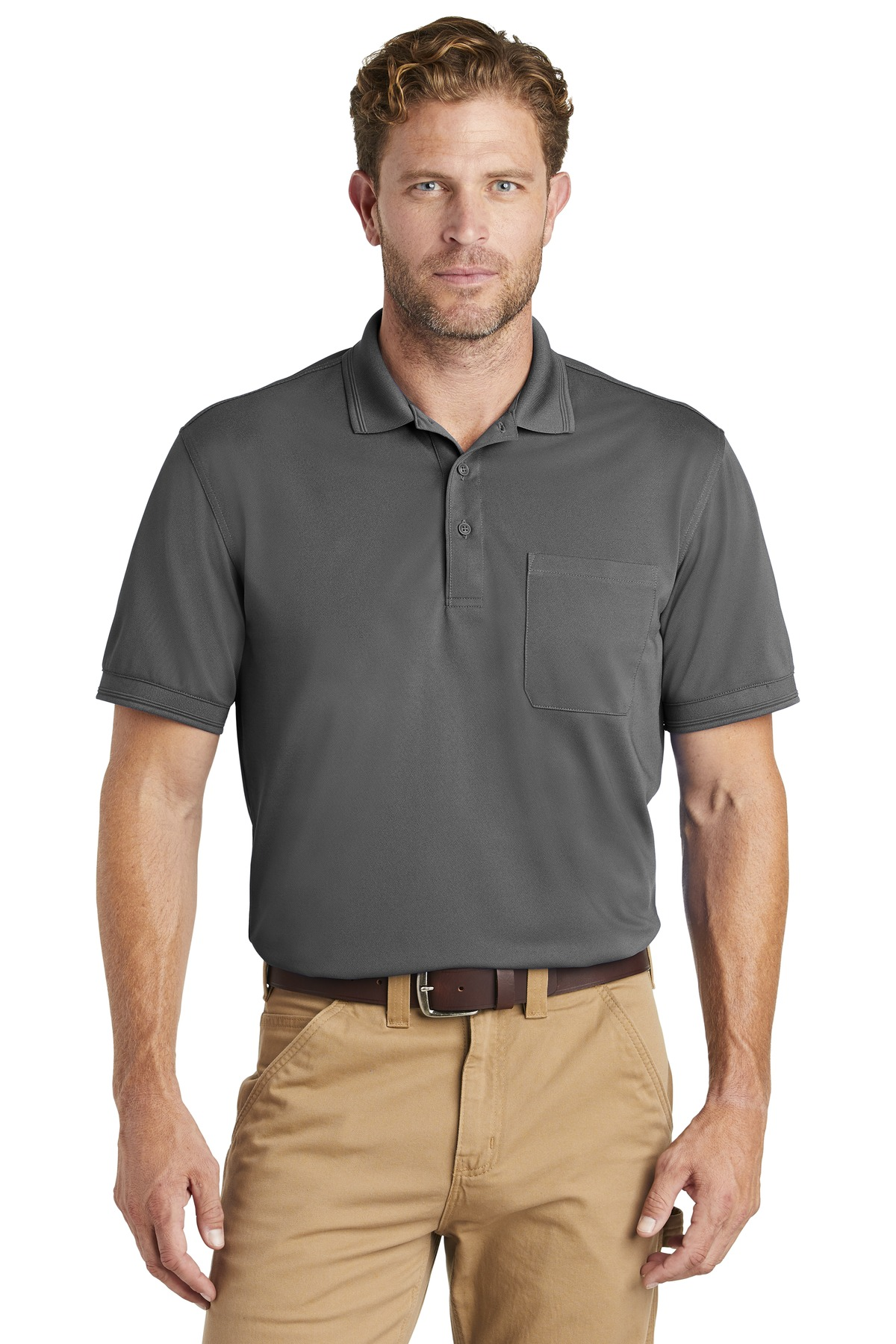 CornerStone  ®  Industrial Snag-Proof Pique Pocket Polo. CS4020P - Charcoal