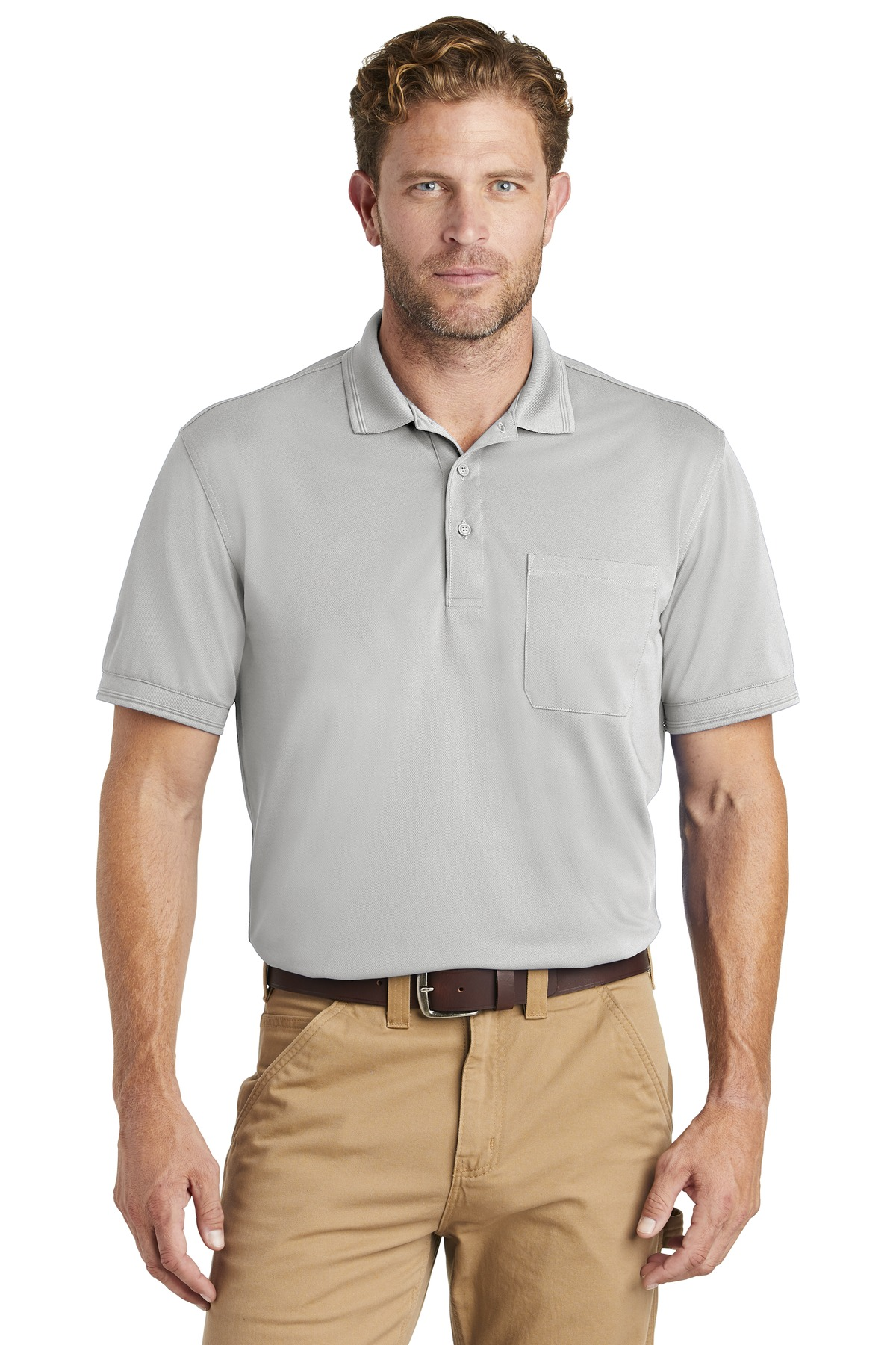 CornerStone  ®  Industrial Snag-Proof Pique Pocket Polo. CS4020P - Light Grey