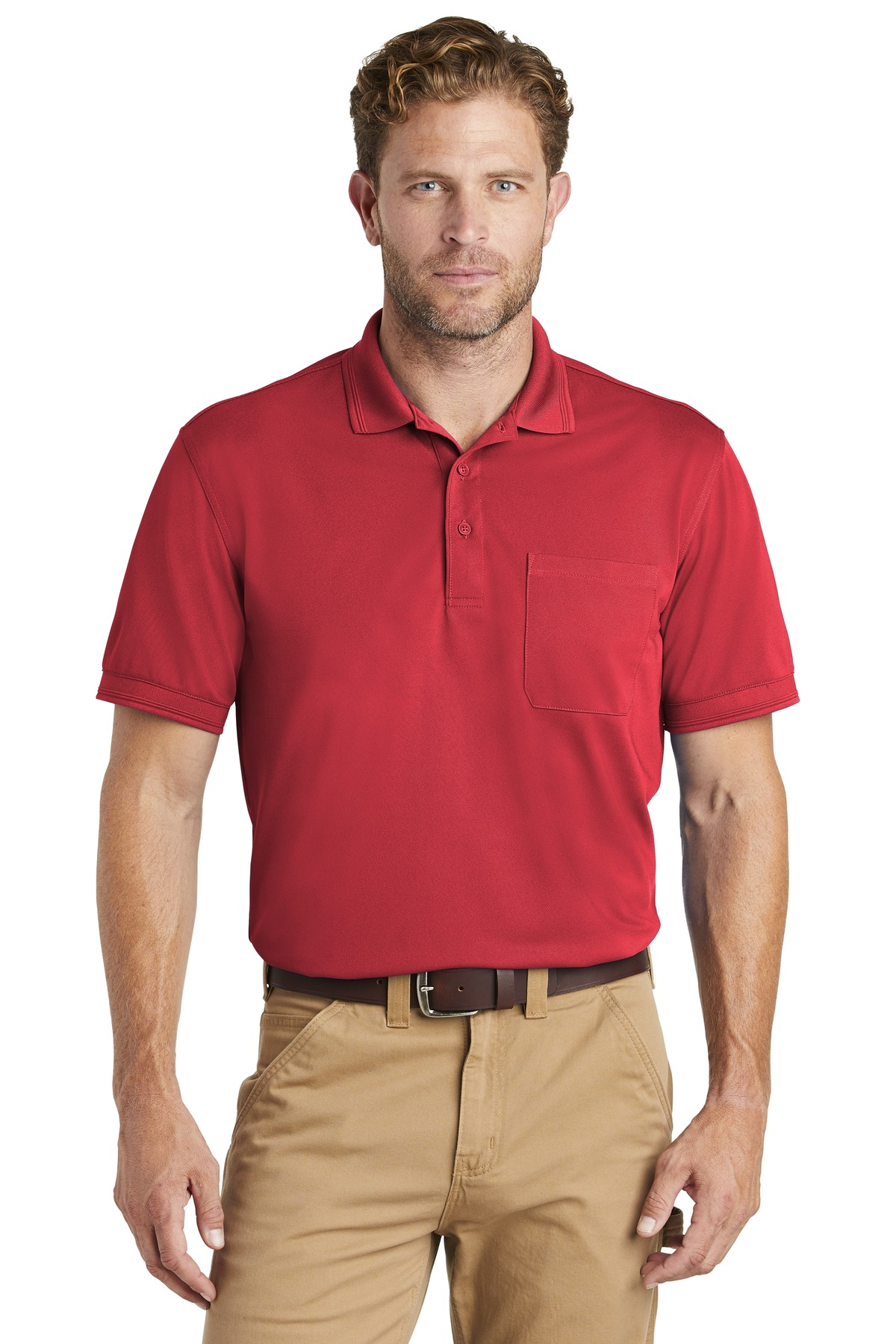 CornerStone  ®  Industrial Snag-Proof Pique Pocket Polo. CS4020P - Red