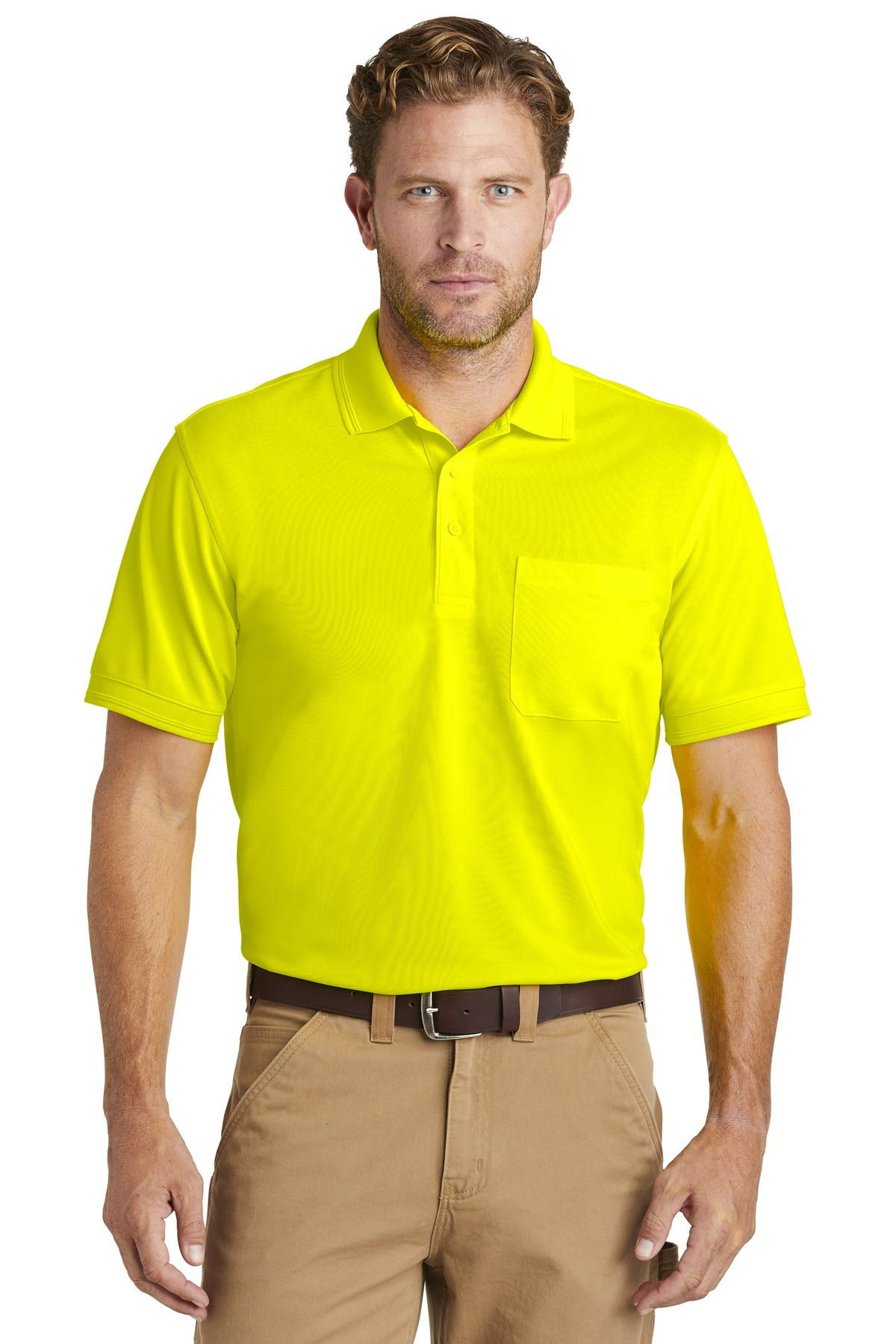 CornerStone  ®  Industrial Snag-Proof Pique Pocket Polo. CS4020P - Safety Yellow