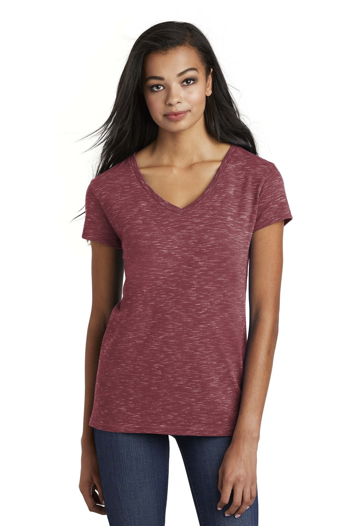 District Women''s Medal V-Neck Tee. DT664