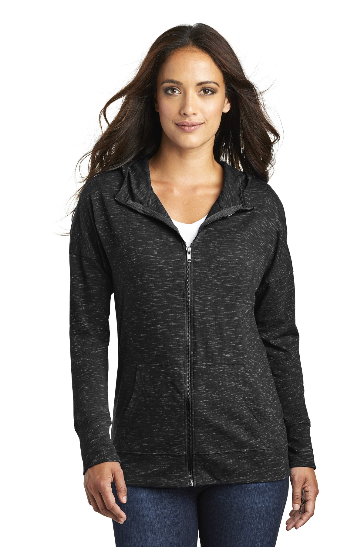 District  ®  Women's Medal Full-Zip Hoodie. DT665 - Black