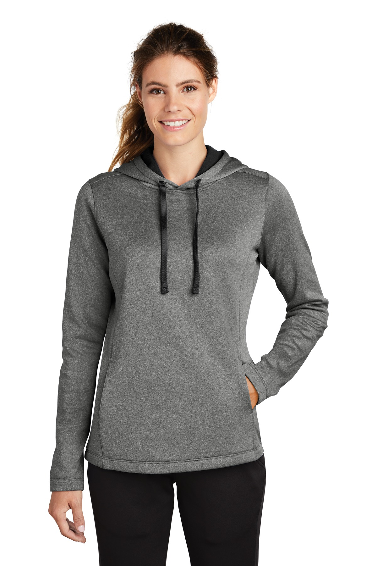 Sport-Tek  ®  Ladies PosiCharge  ®  Sport-Wick  ®  Heather Fleece Hooded Pullover. LST264 - Black Heather
