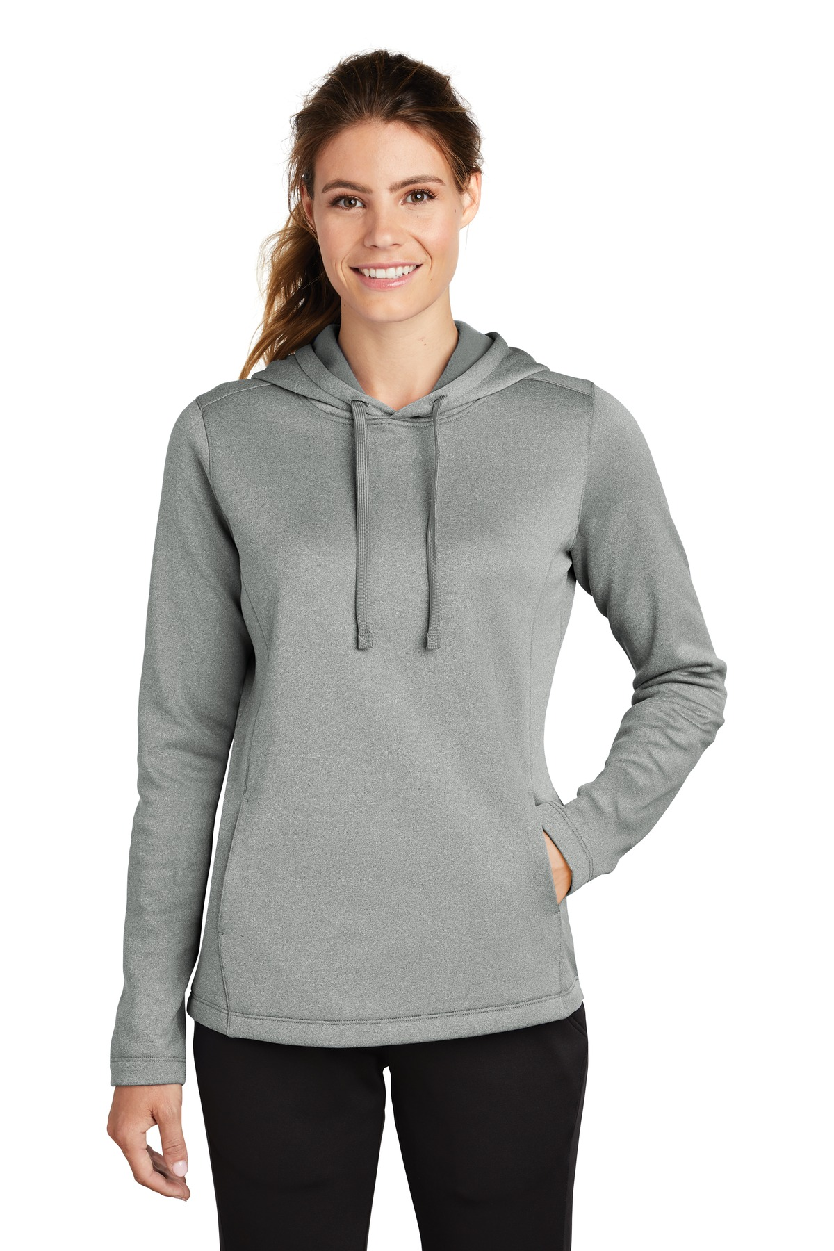 Sport-Tek  ®  Ladies PosiCharge  ®  Sport-Wick  ®  Heather Fleece Hooded Pullover. LST264 - Dark Silver Heather