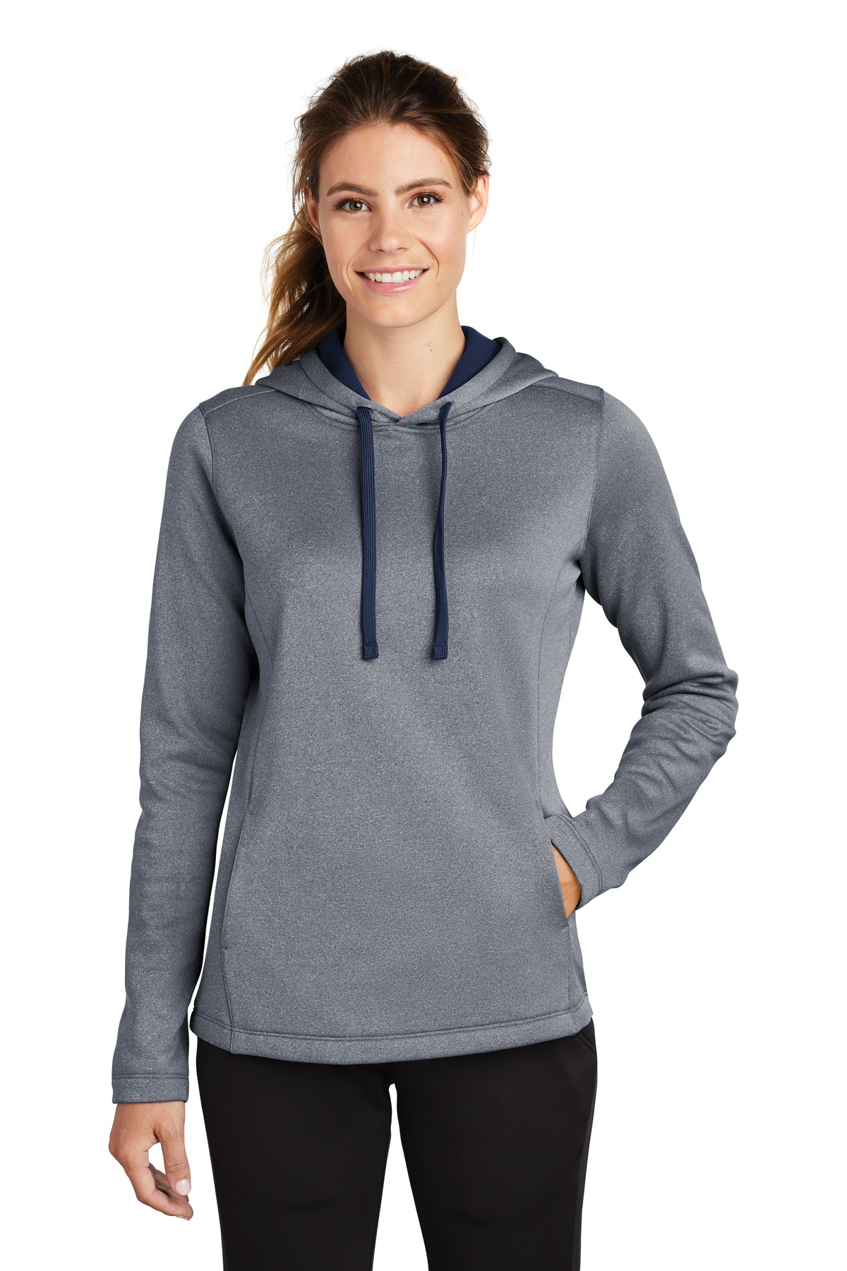 Sport-Tek  ®  Ladies PosiCharge  ®  Sport-Wick  ®  Heather Fleece Hooded Pullover. LST264 - True Navy Heather