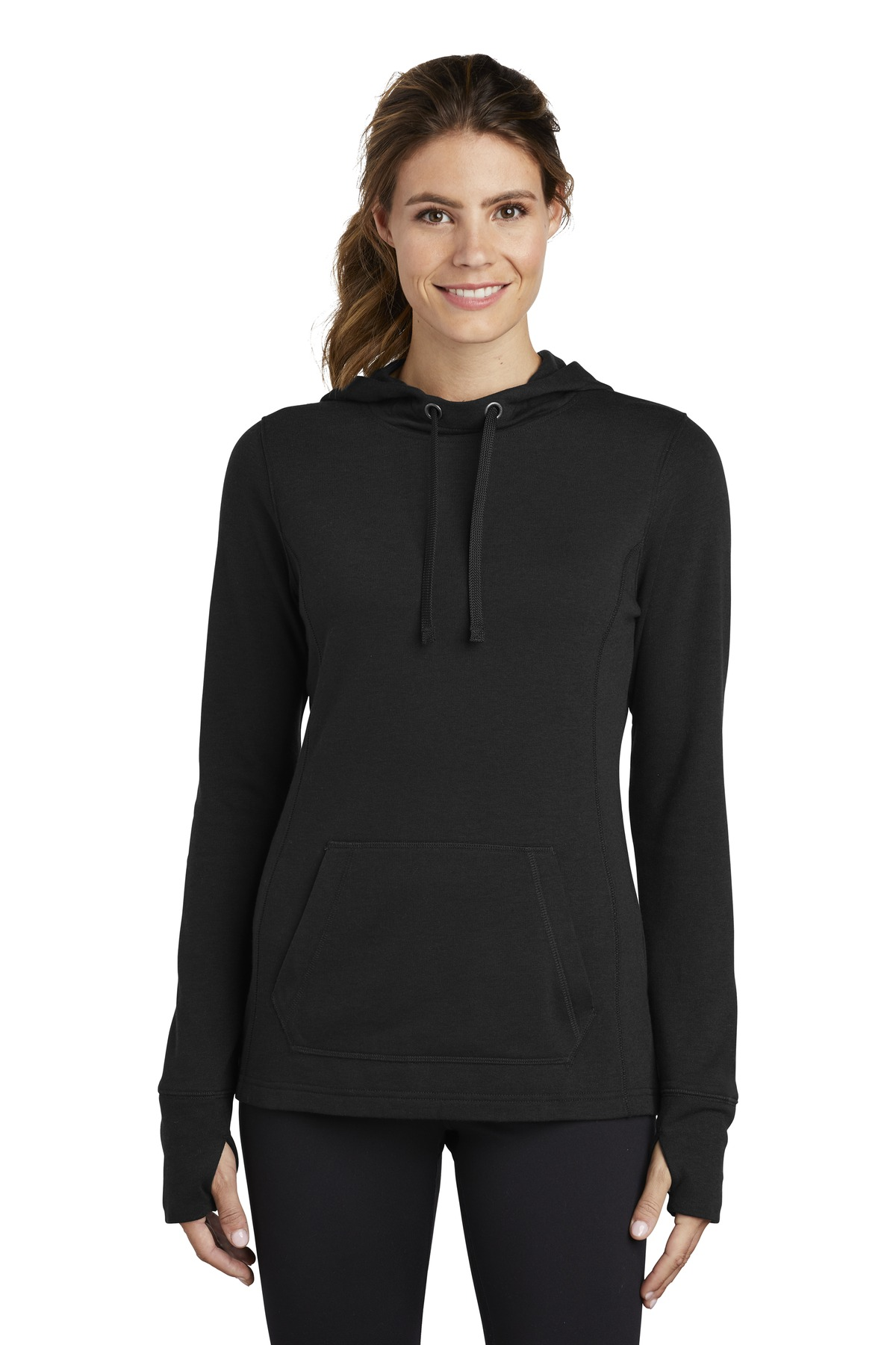 Sport-Tek  ®  Ladies PosiCharge  ®  Tri-Blend Wicking Fleece Hooded Pullover. LST296 - Black Triad Solid