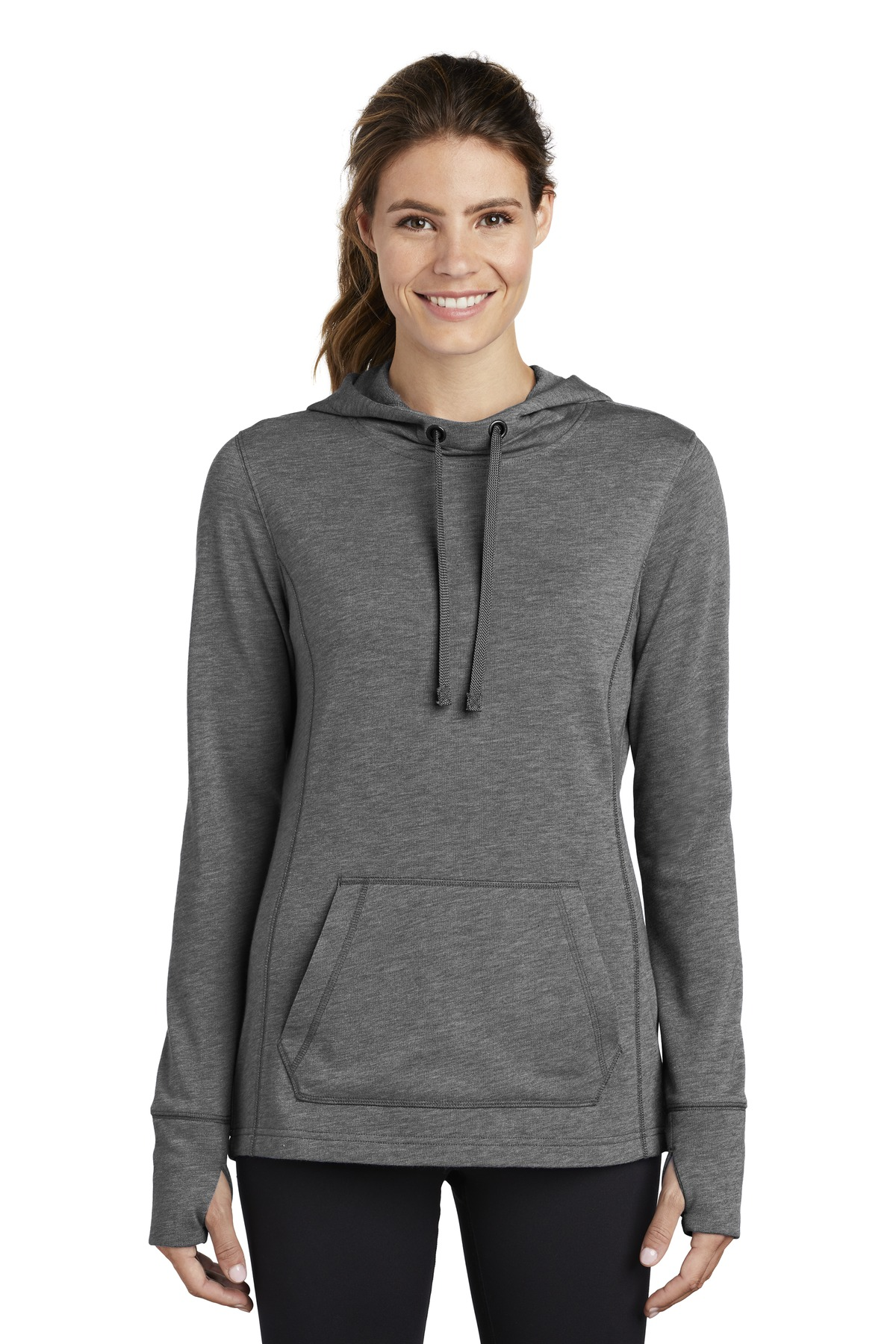 Sport-Tek  ®  Ladies PosiCharge  ®  Tri-Blend Wicking Fleece Hooded Pullover. LST296 - Dark Grey Heather