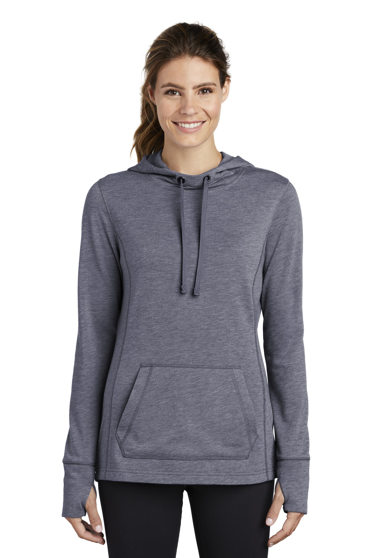Sport-Tek  ®  Ladies PosiCharge  ®  Tri-Blend Wicking Fleece Hooded Pullover. LST296 - True Navy Heather