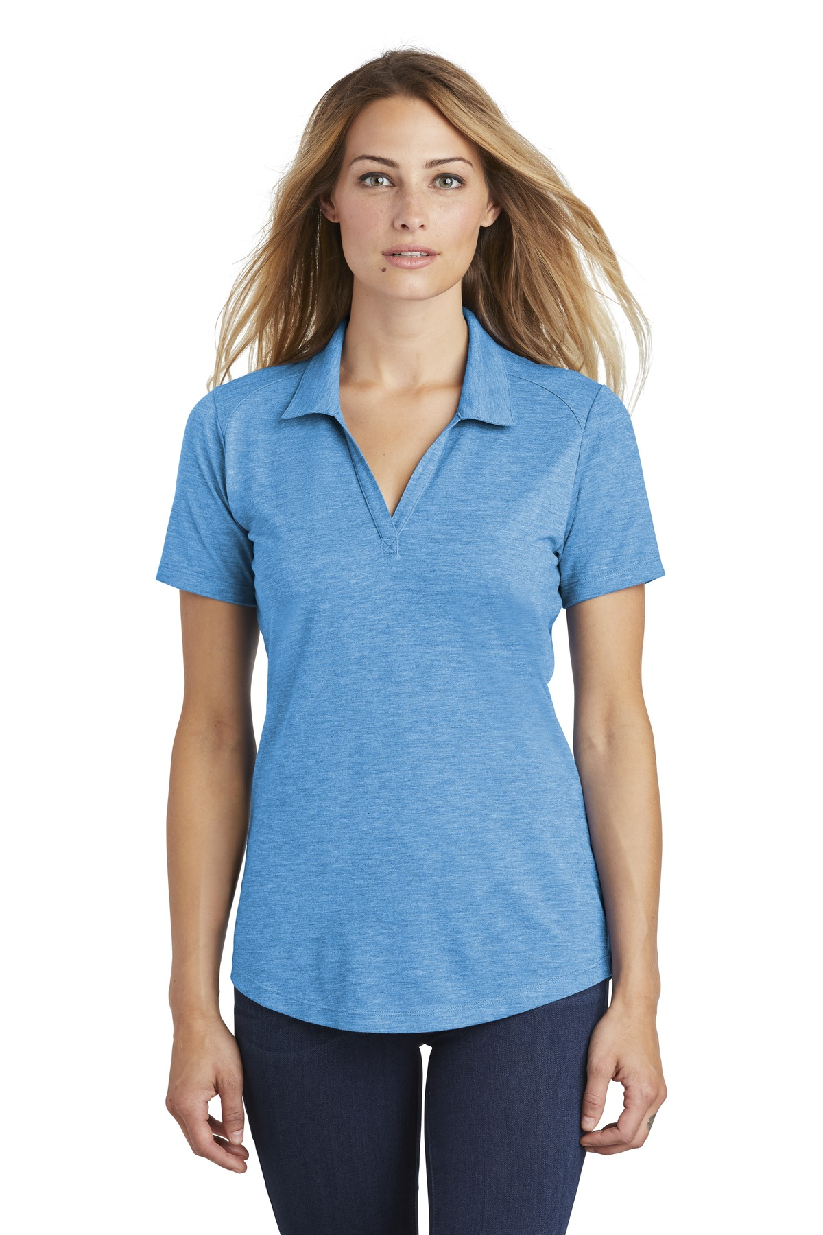 Sport-Tek  ®  Ladies PosiCharge  ®  Tri-Blend Wicking Polo. LST405 - Pond Blue Heather
