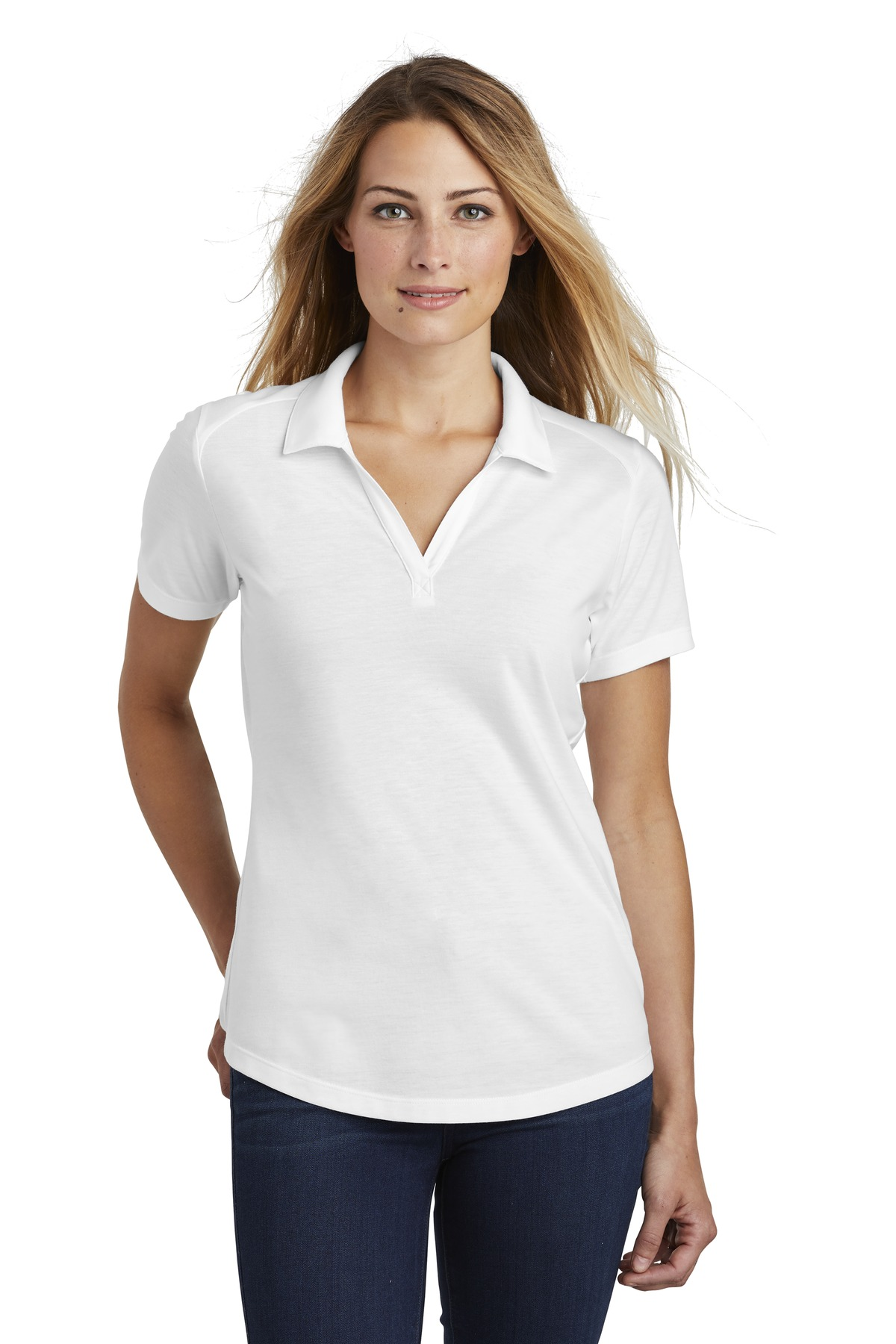 Sport-Tek  ®  Ladies PosiCharge  ®  Tri-Blend Wicking Polo. LST405 - White Triad Solid