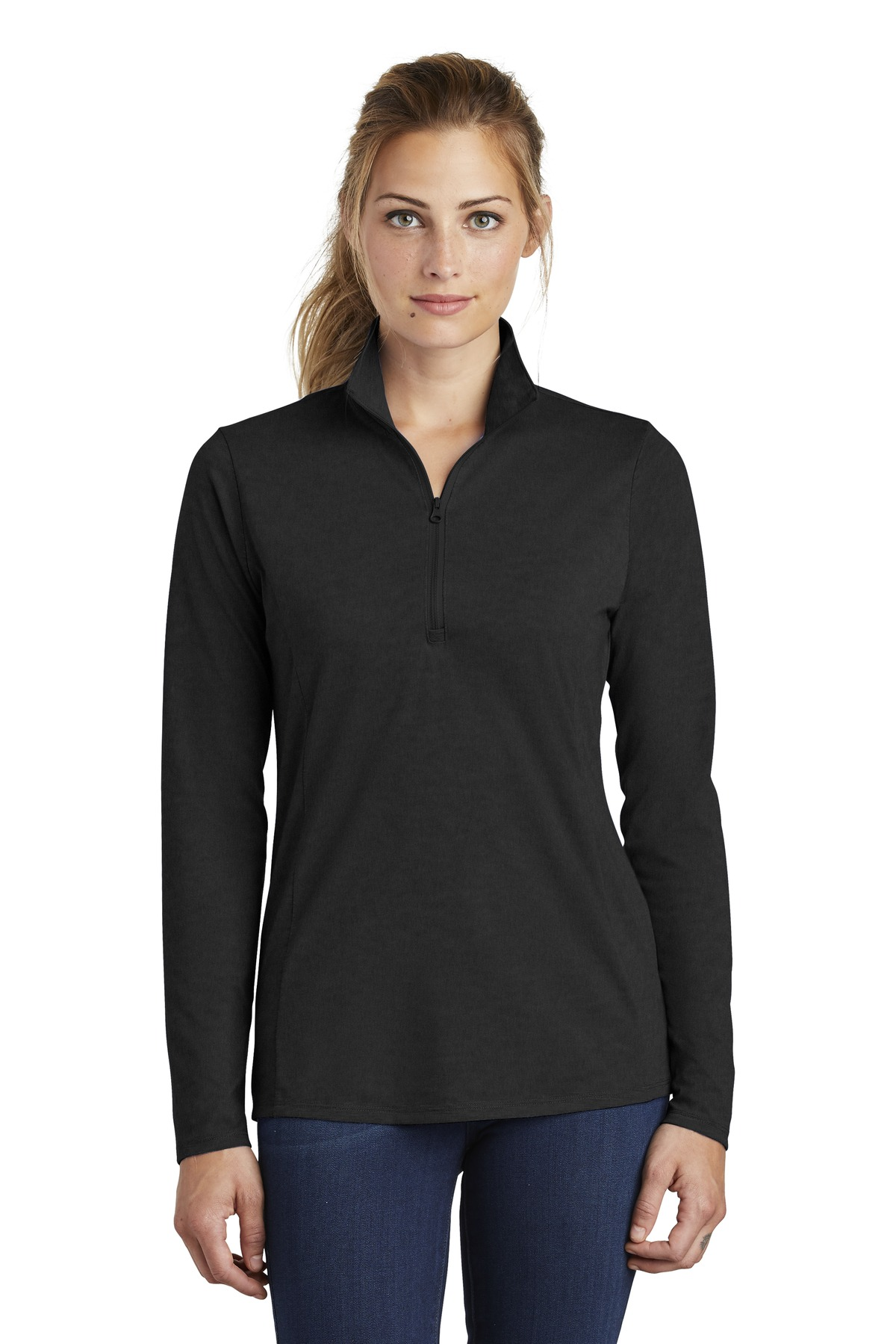 Sport-Tek  ®  Ladies PosiCharge  ®  Tri-Blend Wicking 1/4-Zip Pullover. LST407 - Black Triad Solid