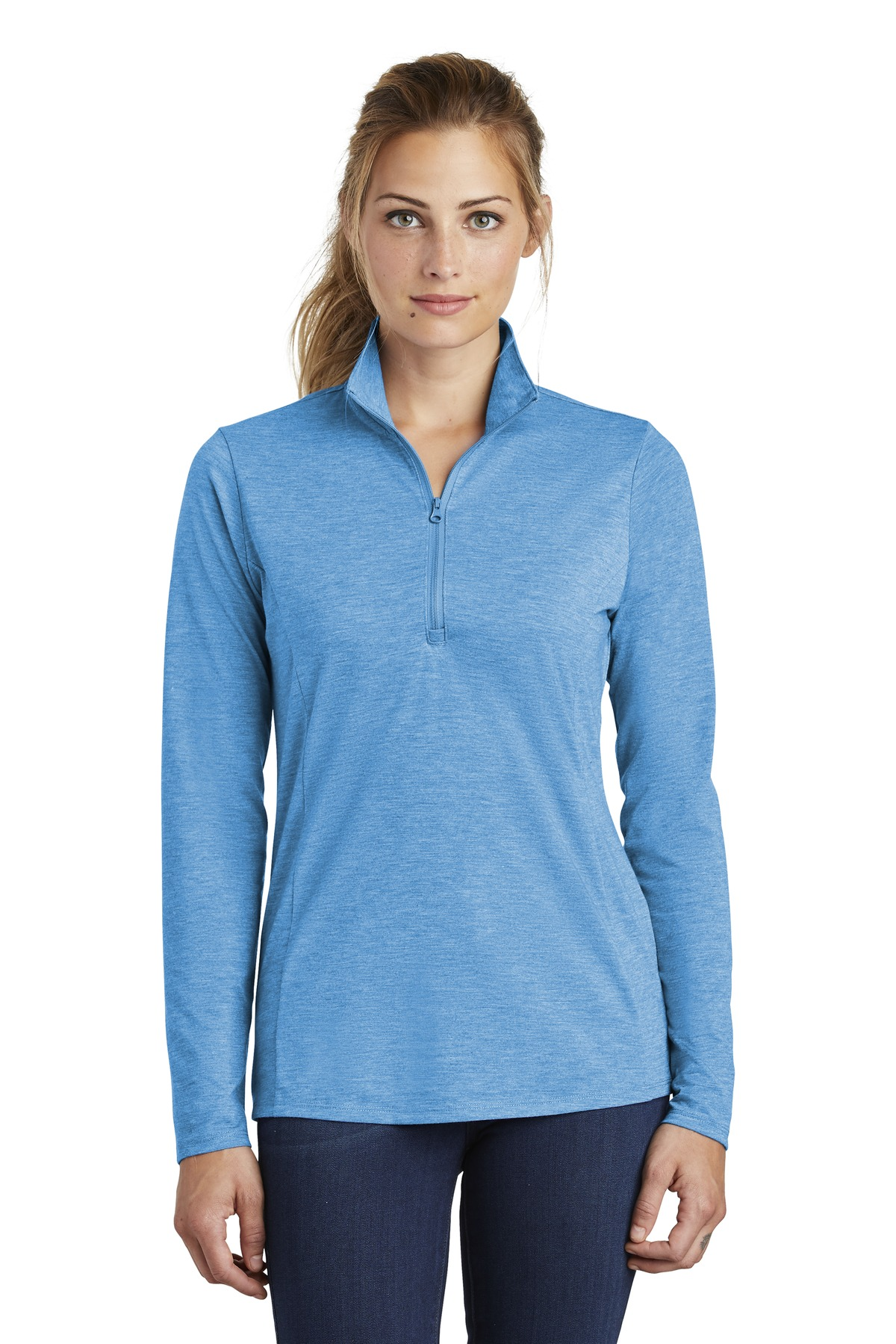 Sport-Tek  ®  Ladies PosiCharge  ®  Tri-Blend Wicking 1/4-Zip Pullover. LST407 - Pond Blue Heather