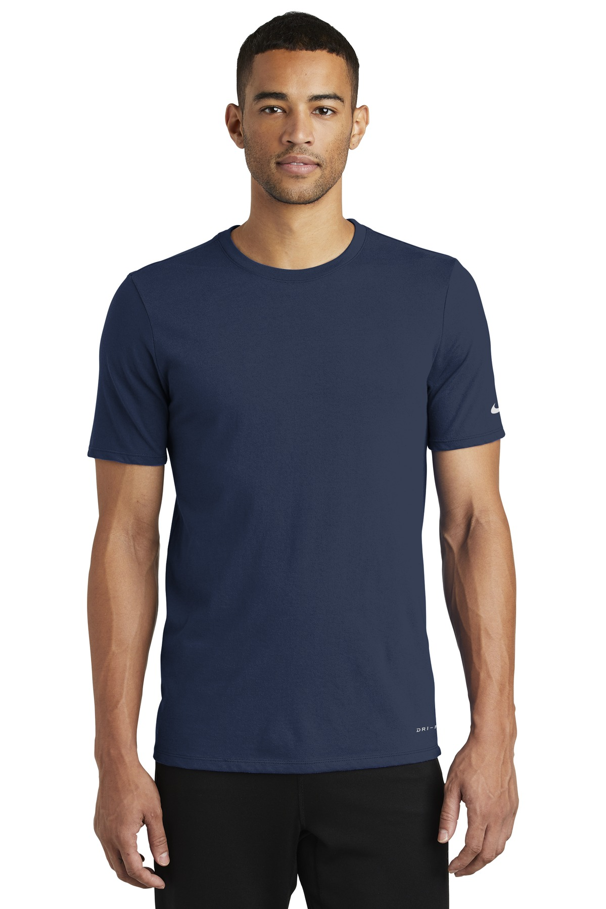 Nike Dri-FIT Cotton/Poly Tee. NKBQ5231 - College Navy