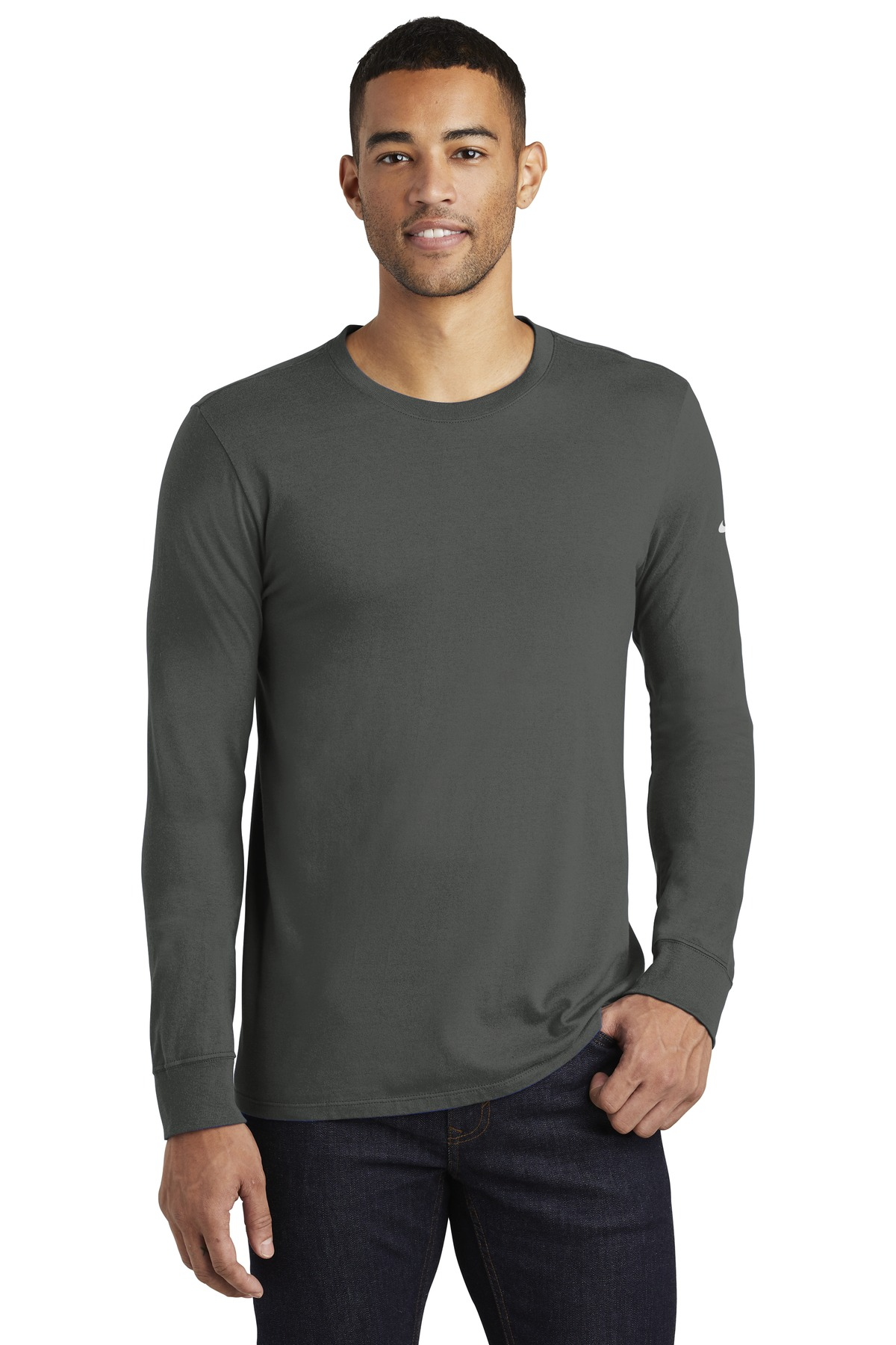 Nike Core Cotton Long Sleeve Tee. NKBQ5232 - Anthracite