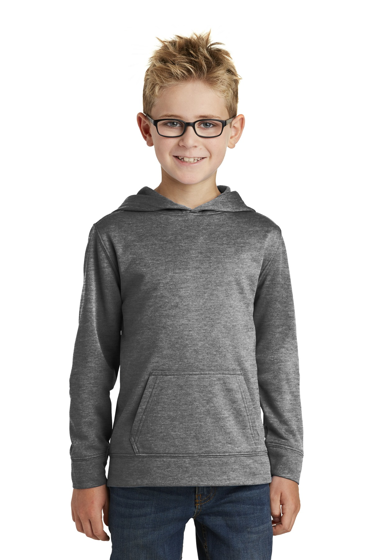 Port & Company ®  - Youth Core Fleece Pullover Hooded Sweatshirt.  PC90YH - Graphite Heather