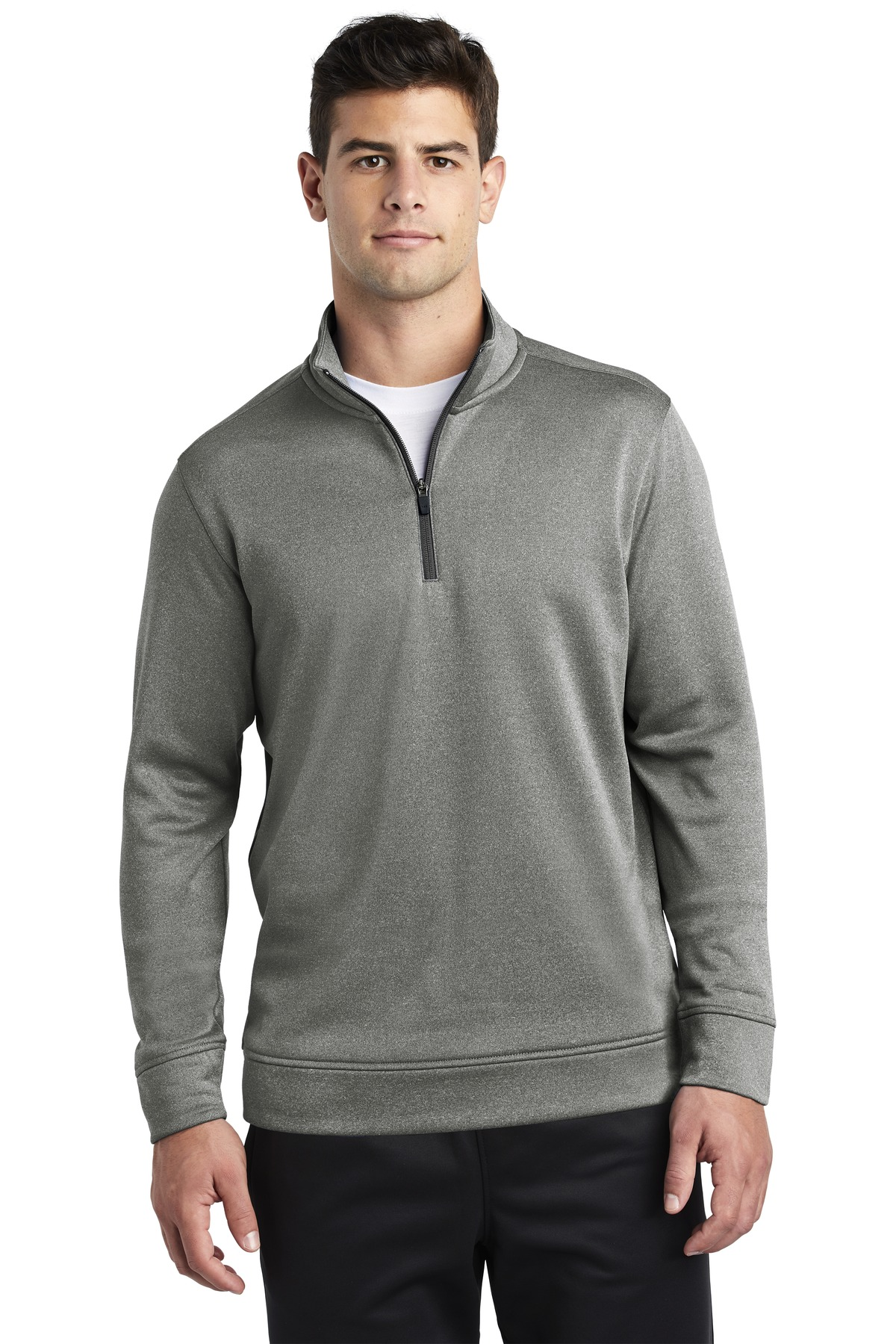 Sport-Tek  ®  PosiCharge  ®  Sport-Wick  ®  Heather Fleece 1/4-Zip Pullover. ST263 - Black Heather