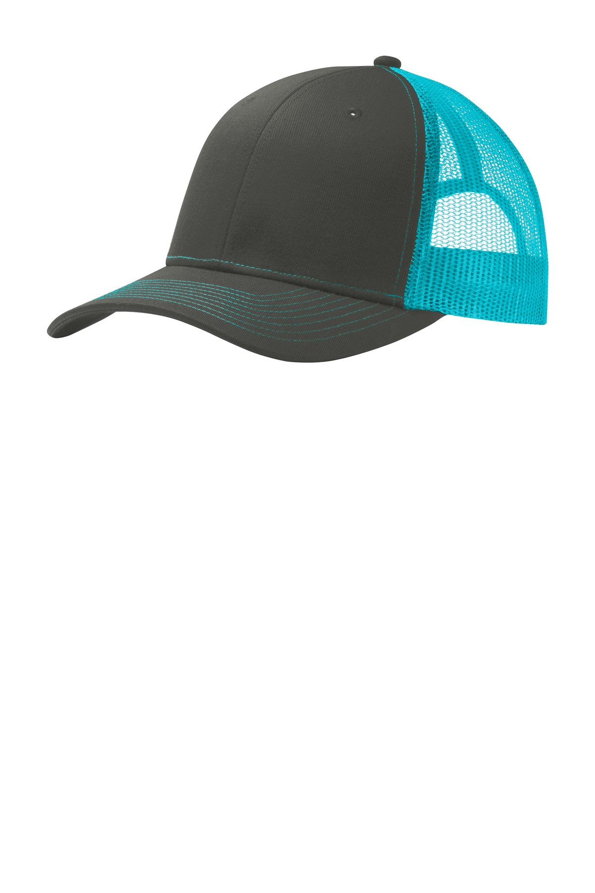Port Authority ®  Snapback Trucker Cap. C112 - Grey Steel/ Neon Blue