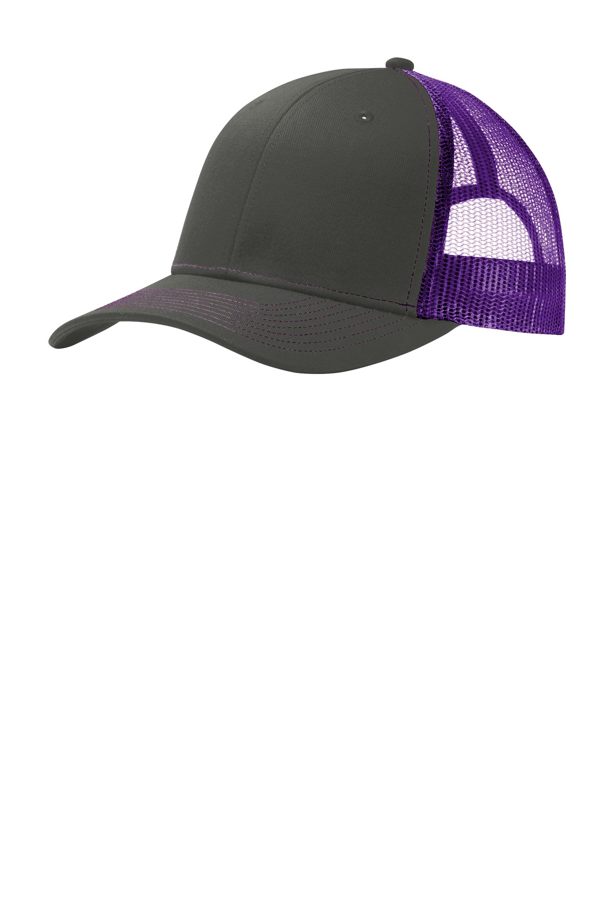 Port Authority ®  Snapback Trucker Cap. C112 - Grey Steel/ Purple