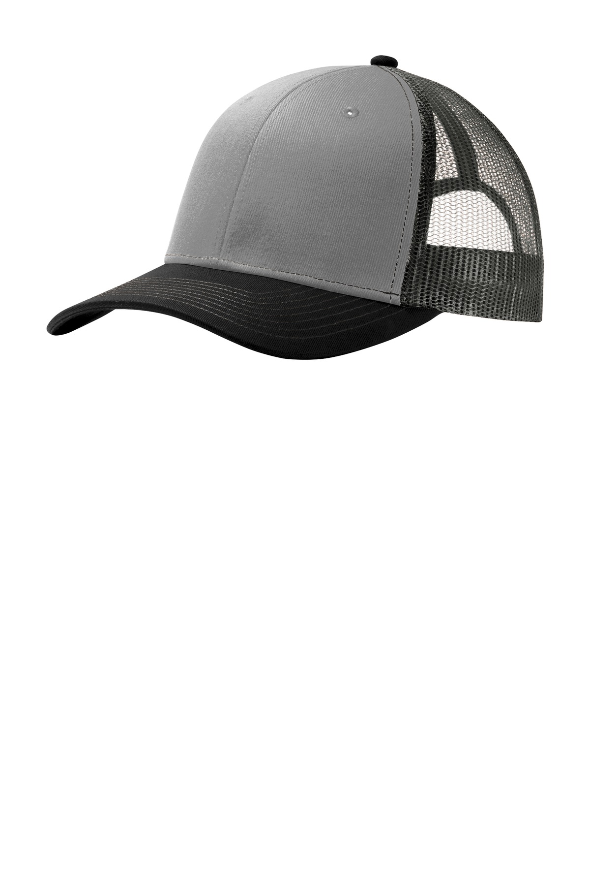 Port Authority ®  Snapback Trucker Cap. C112 - Gusty Grey/ Black/ Grey Steel