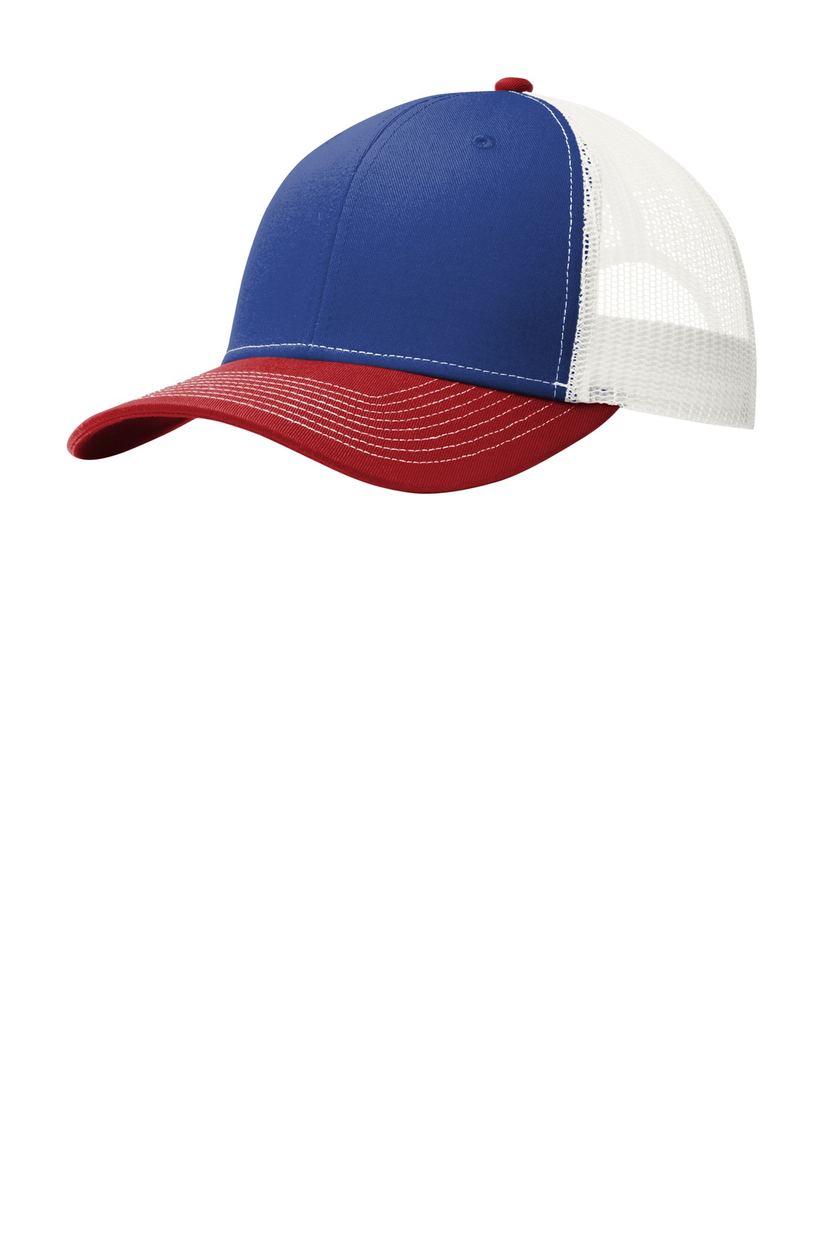 Port Authority ®  Snapback Trucker Cap. C112 - Patriot Blue/ Flame Red/ White