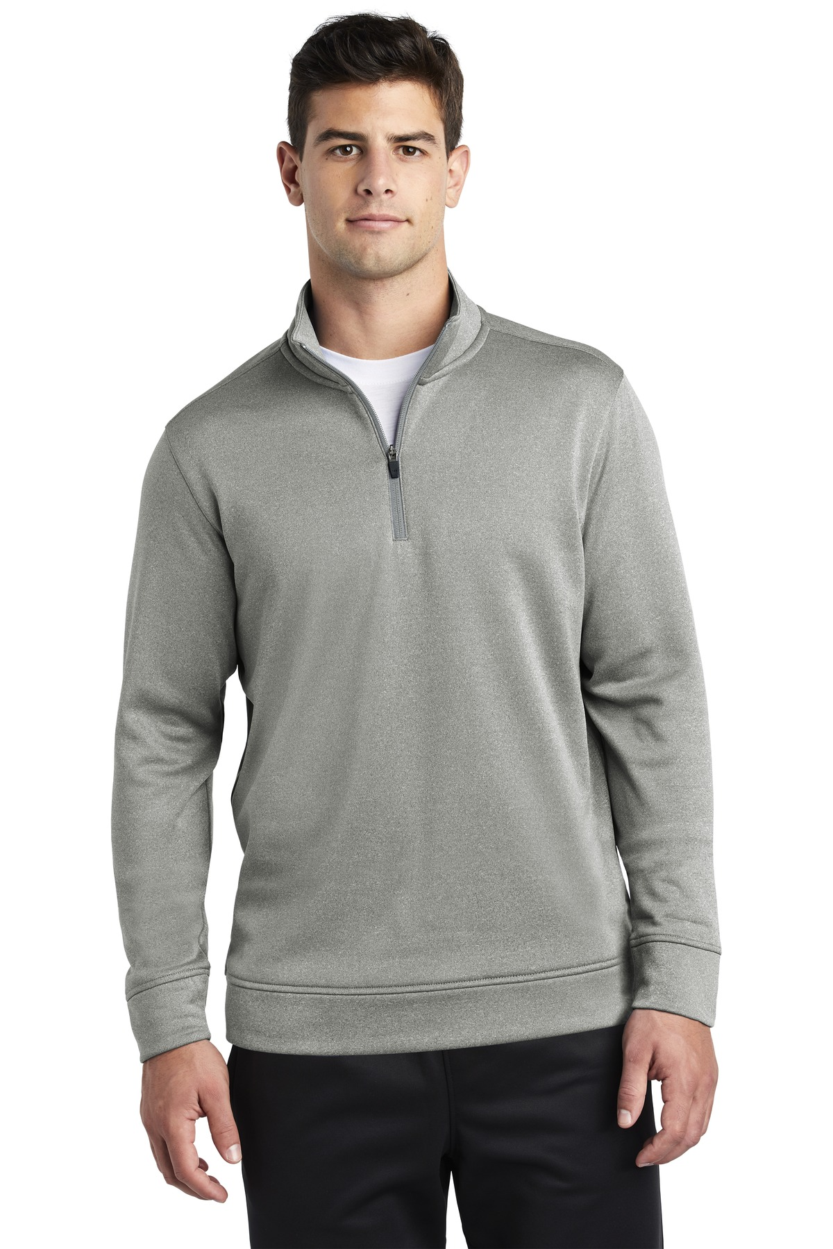 Sport-Tek  ®  PosiCharge  ®  Sport-Wick  ®  Heather Fleece 1/4-Zip Pullover. ST263 - Dark Silver Heather